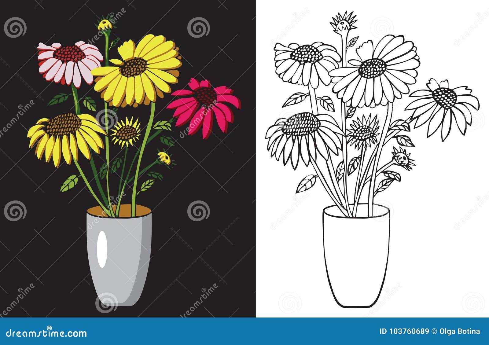 życia wciąż słoneczników wazy akwarela
