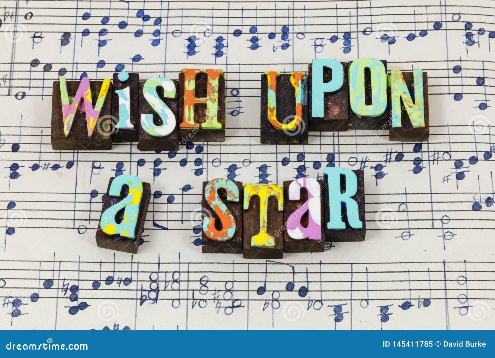 Życzenie na gwiazdowej nadzieja sen marzycielki miłości typografii magiczną chrzcielnicę