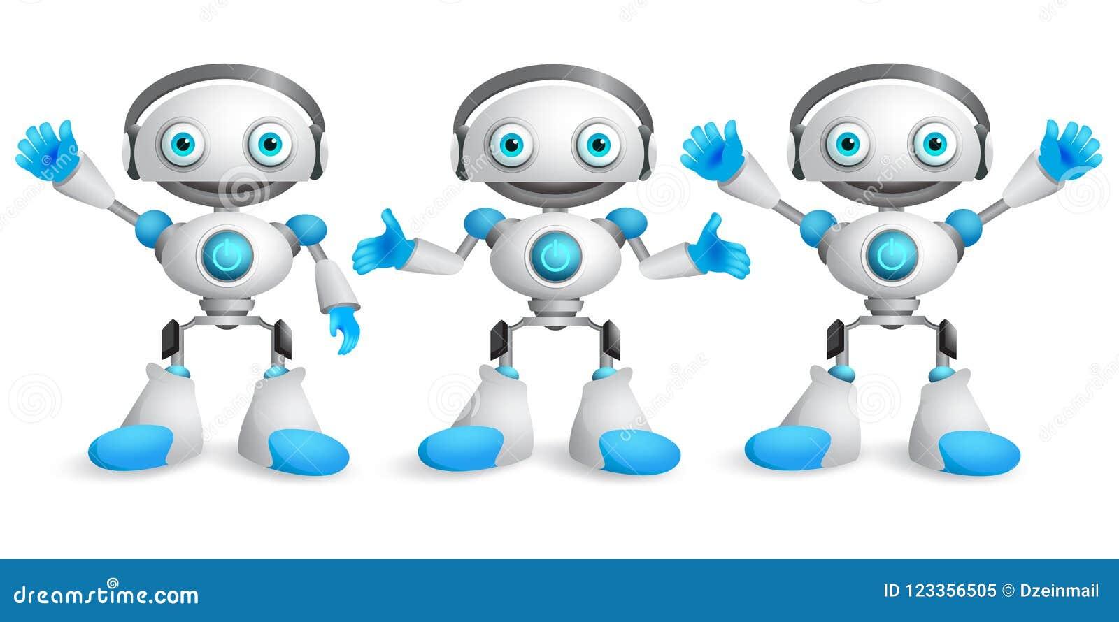 Życzliwych robotów wektorowy charakter - set Śmieszny maskotka robota projekt