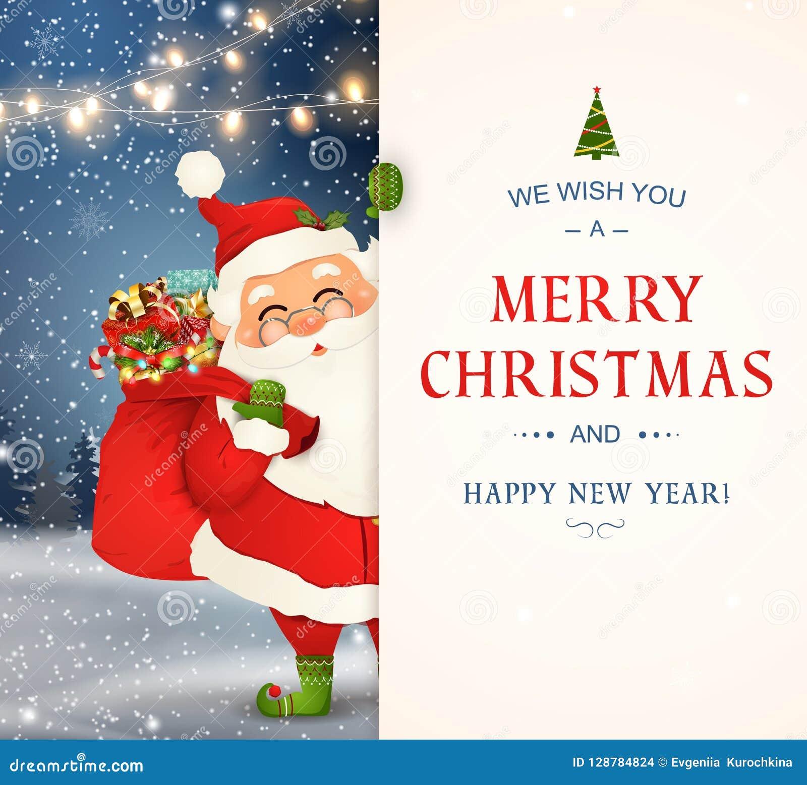 Życzymy wam wesoło boże narodzenia szczęśliwego nowego roku, Święty Mikołaj charakter z dużym signboard Wesoło Santa klauzula z d
