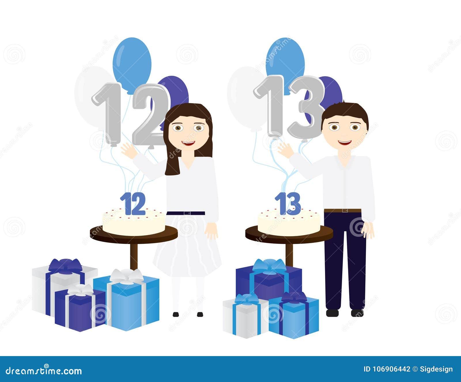 Żydowska chłopiec i dziewczyny świętuje Prętowego mitzvah i nietoperza mitzvah