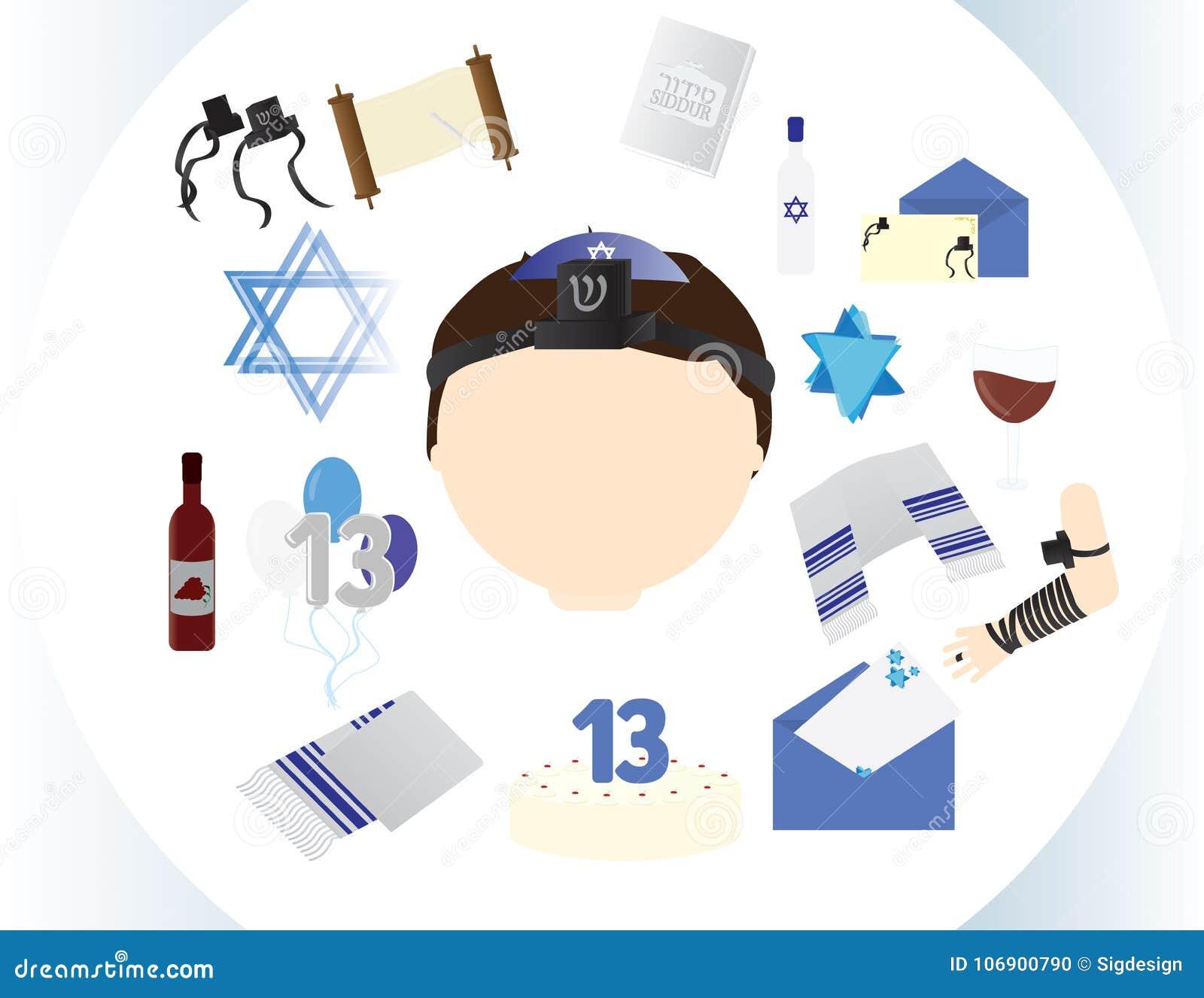 Żydowska chłopiec ikona z tradycyjnymi Prętowego mitzvah elementami