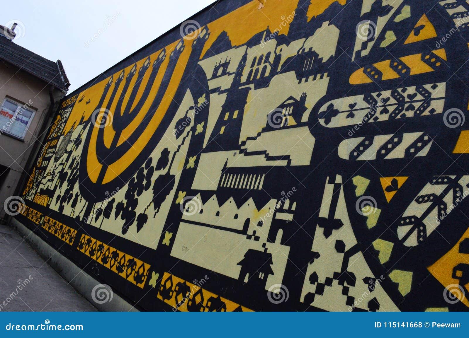 Żydowski malowidło ścienne w Kazimierz w Krakow