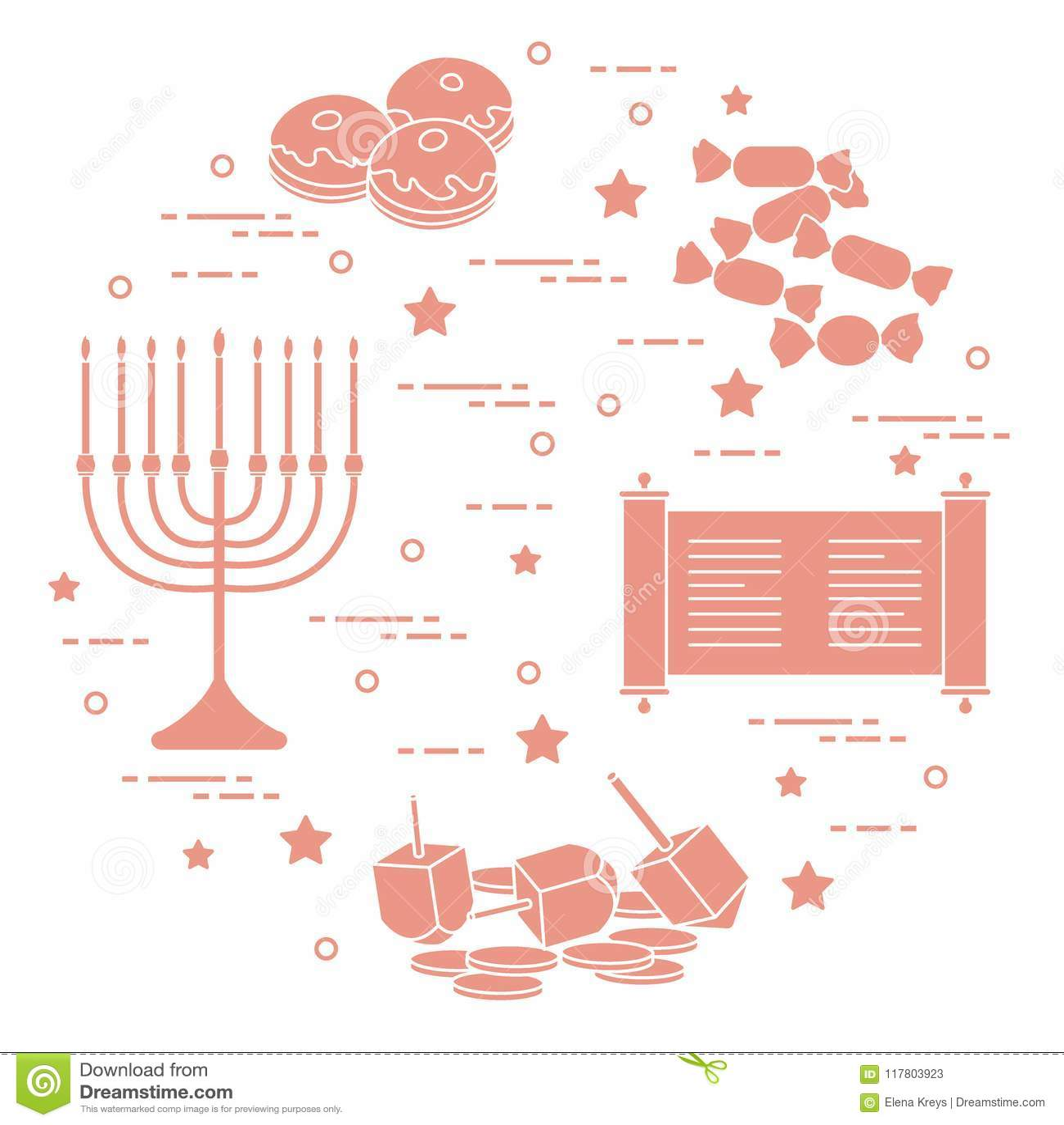 Żydowski wakacyjny Hanukkah: dreidel, sivivon, menorah, monety, pączek
