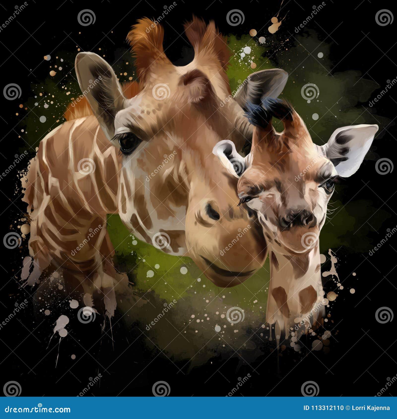Żyraf, matki i lisiątka akwareli ilustracja,