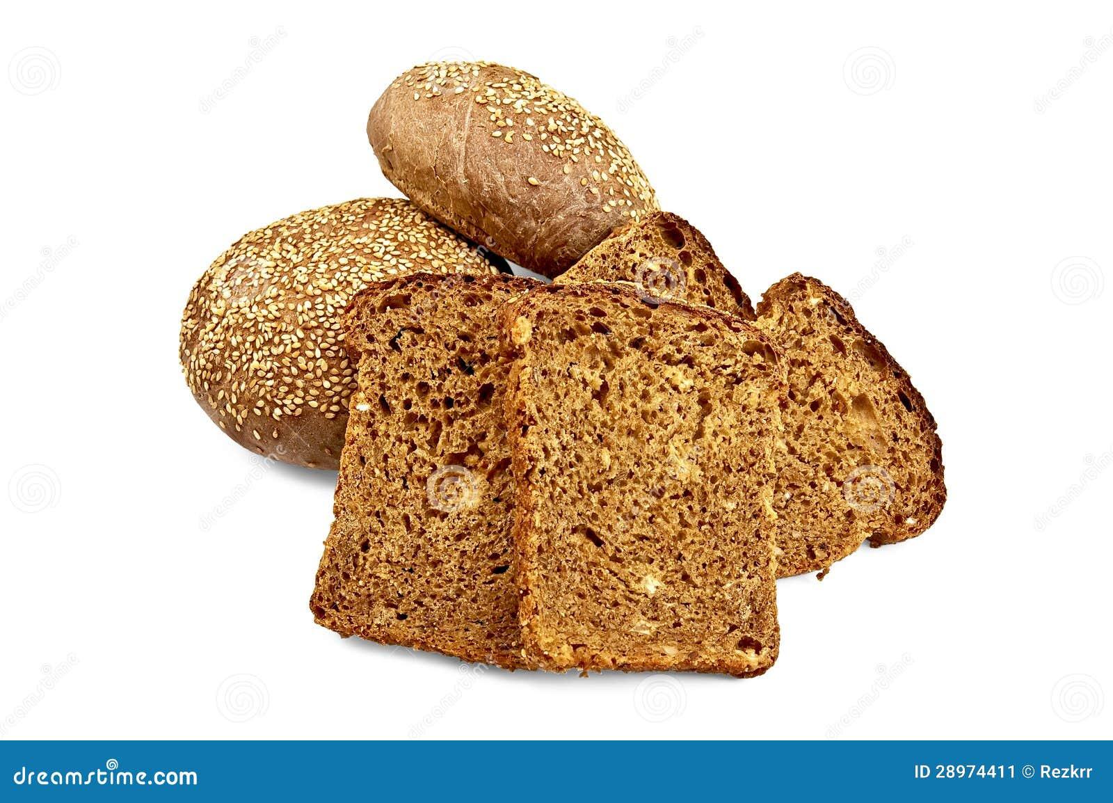 Żyto chleb i dwa babeczki z sezamem