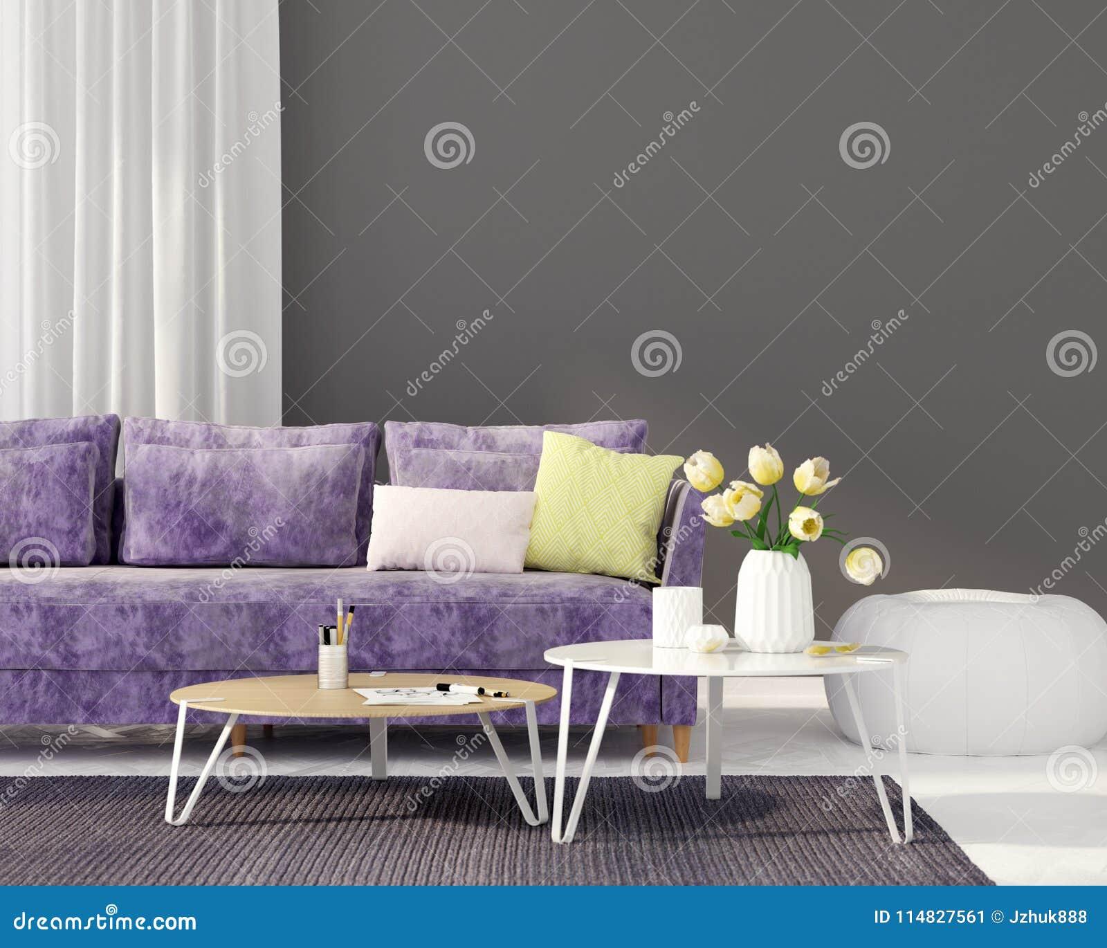 Żywy pokój z purpurową kanapą