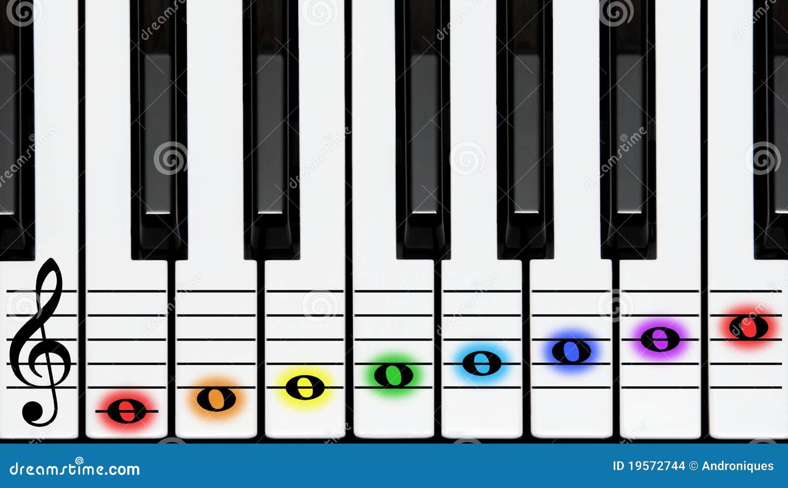谱号上色键盘键附注钢琴高音图片