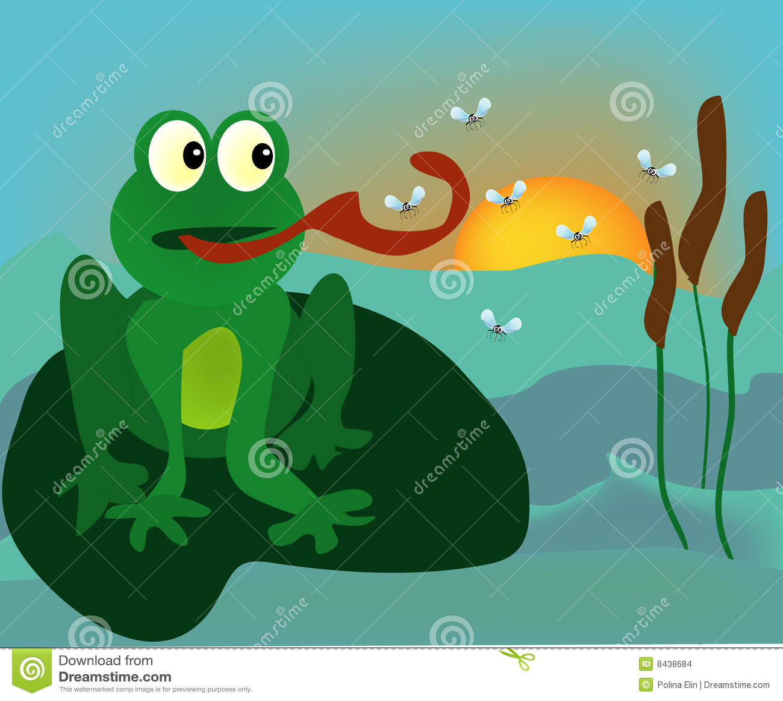 动画片青蛙组例证蚊子向量