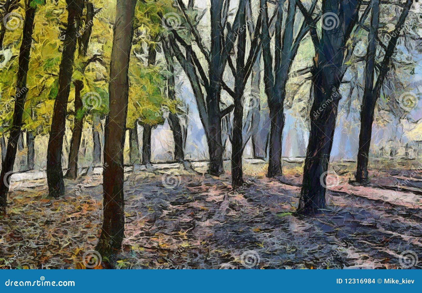 秋天森林绘画 库存图片