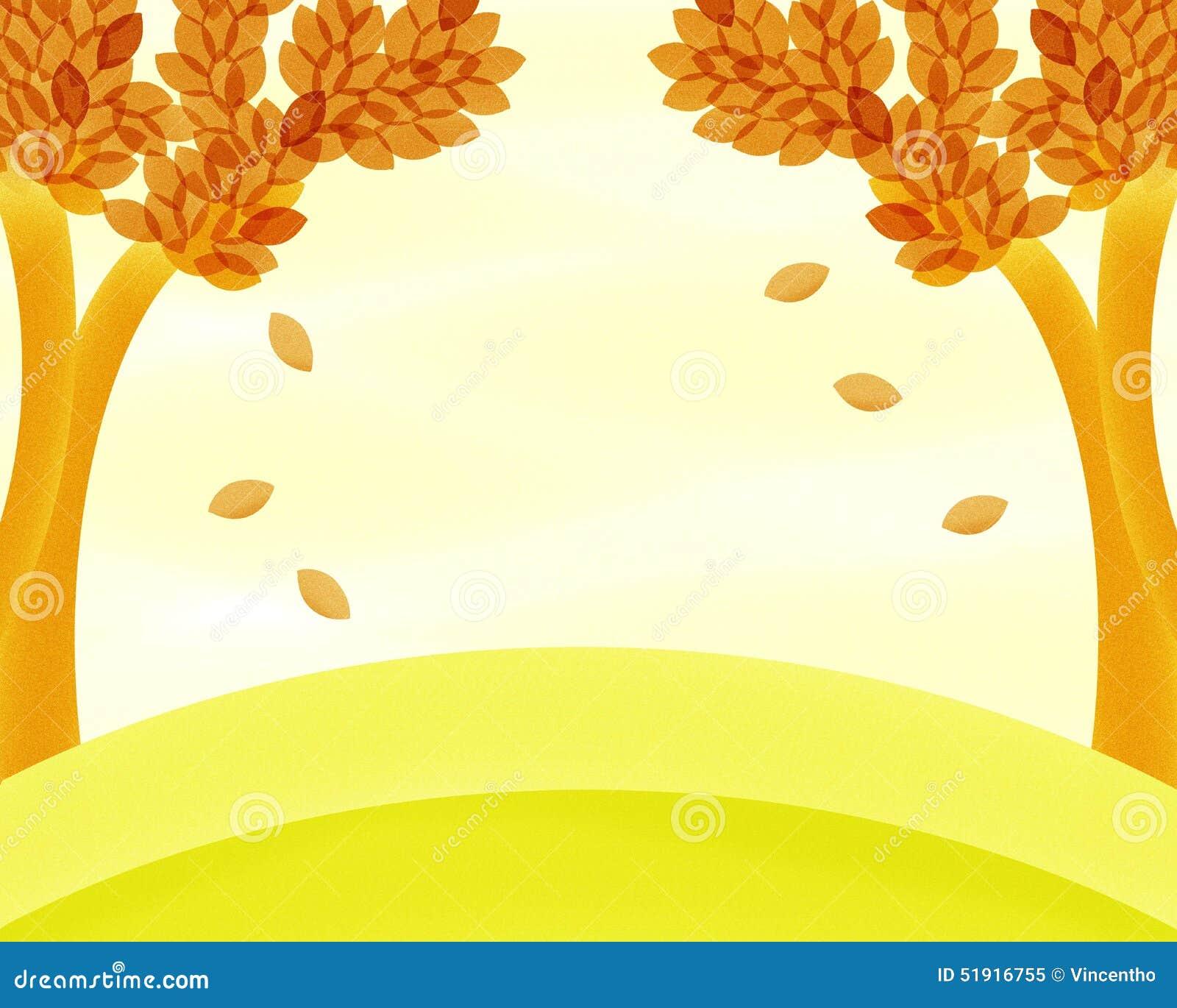 秋天树背景绘画 库存例证