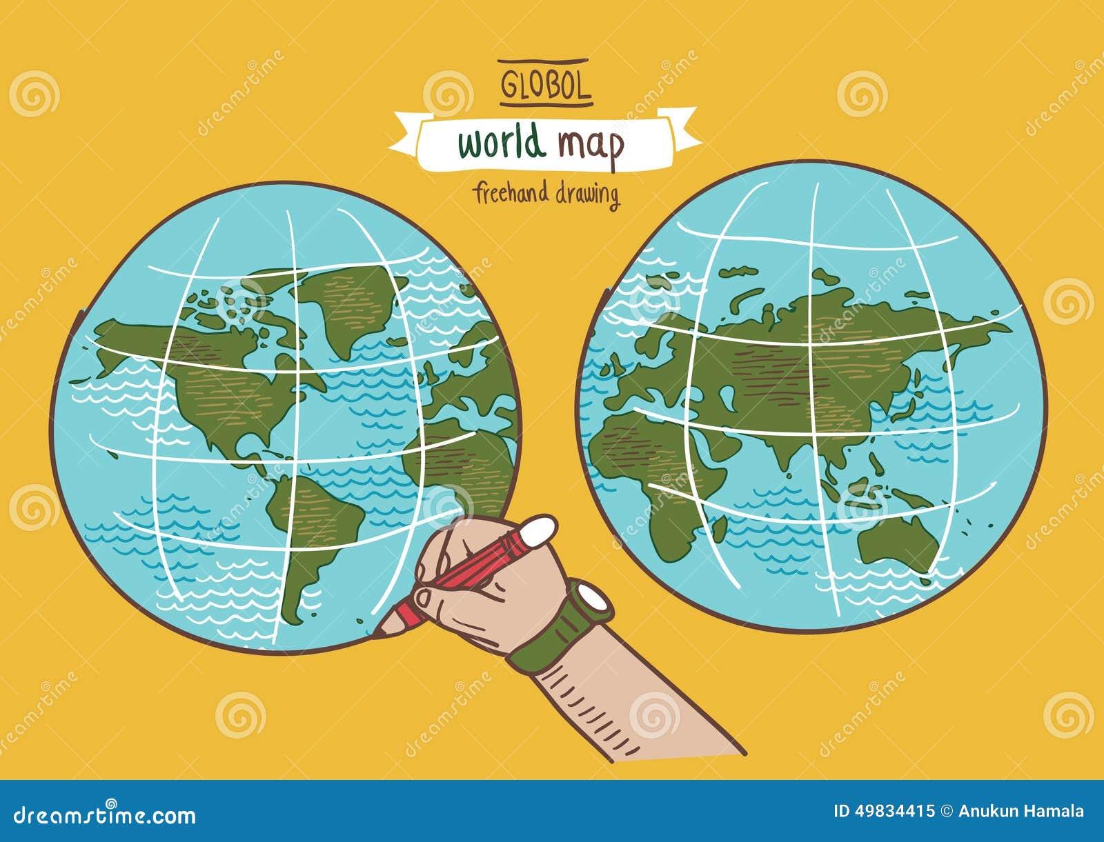 全球性世界地图剪影传染媒介