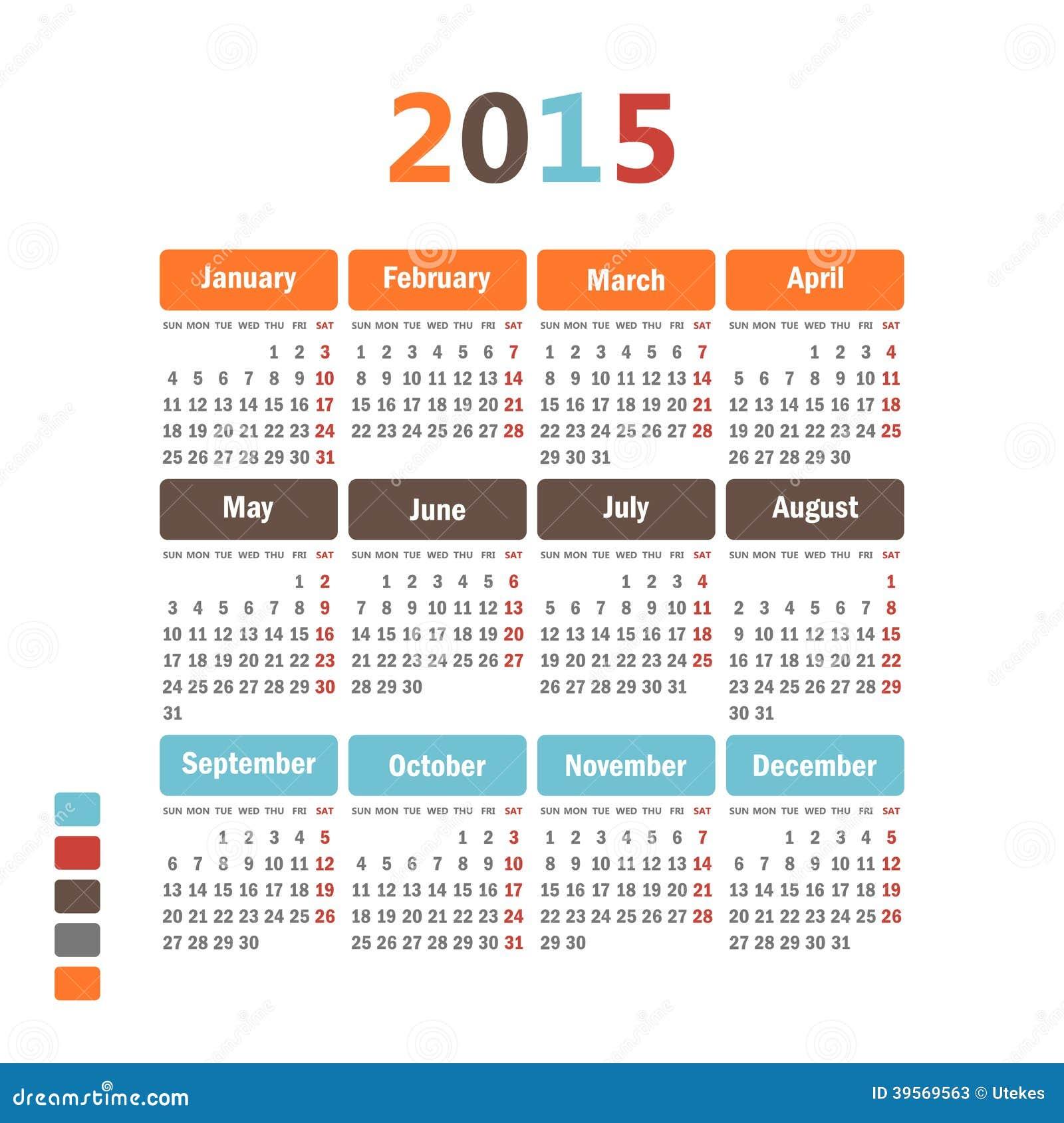 日历2015年. 向量例证图片