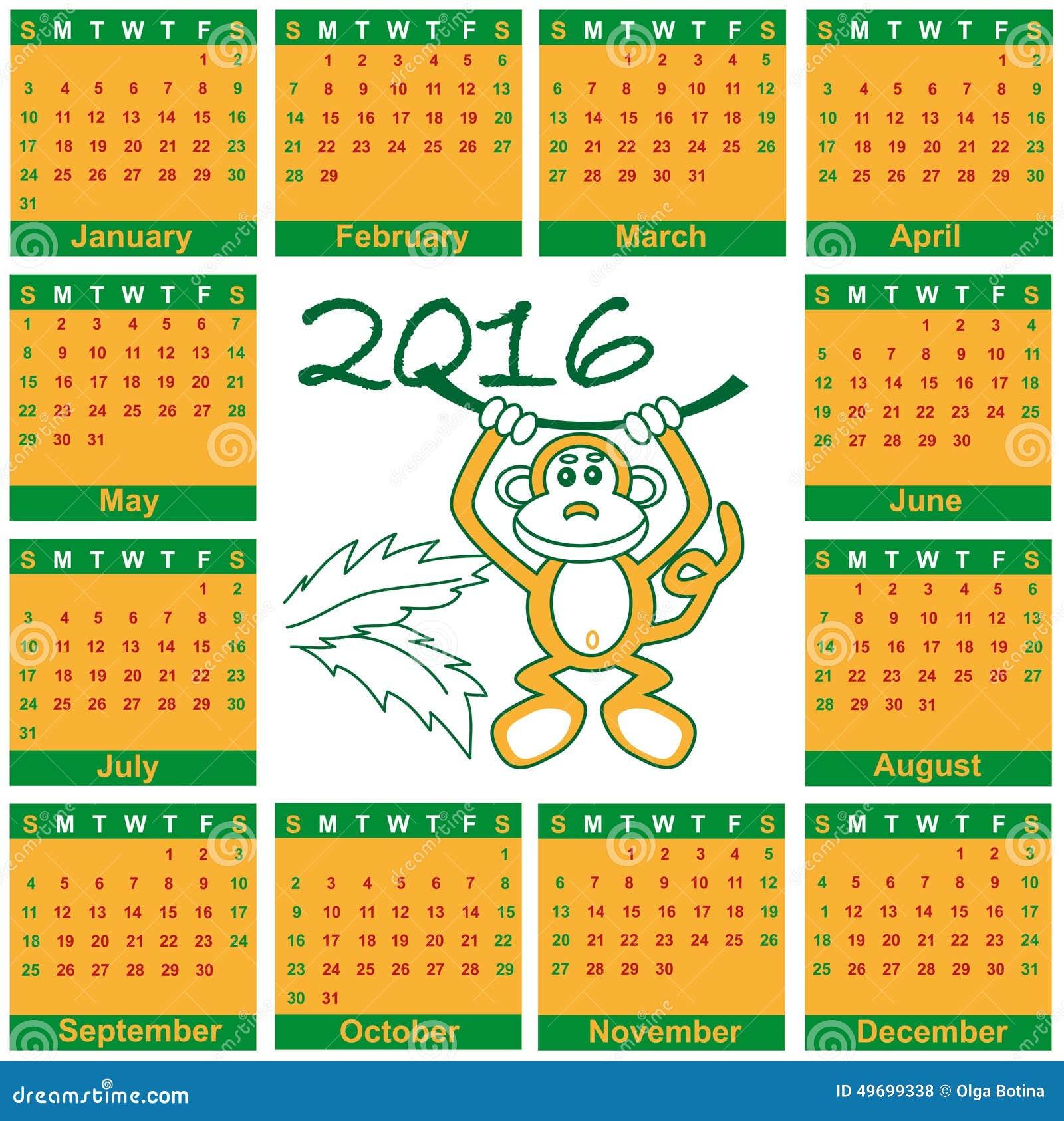 日历2016年猴子 向量例证图片
