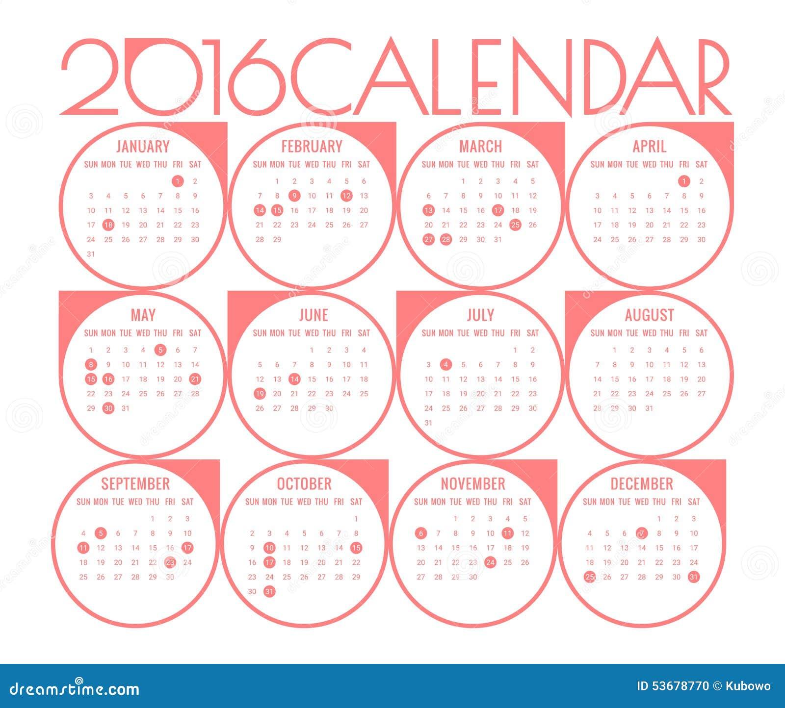 日历2016年模板与明显假日图片