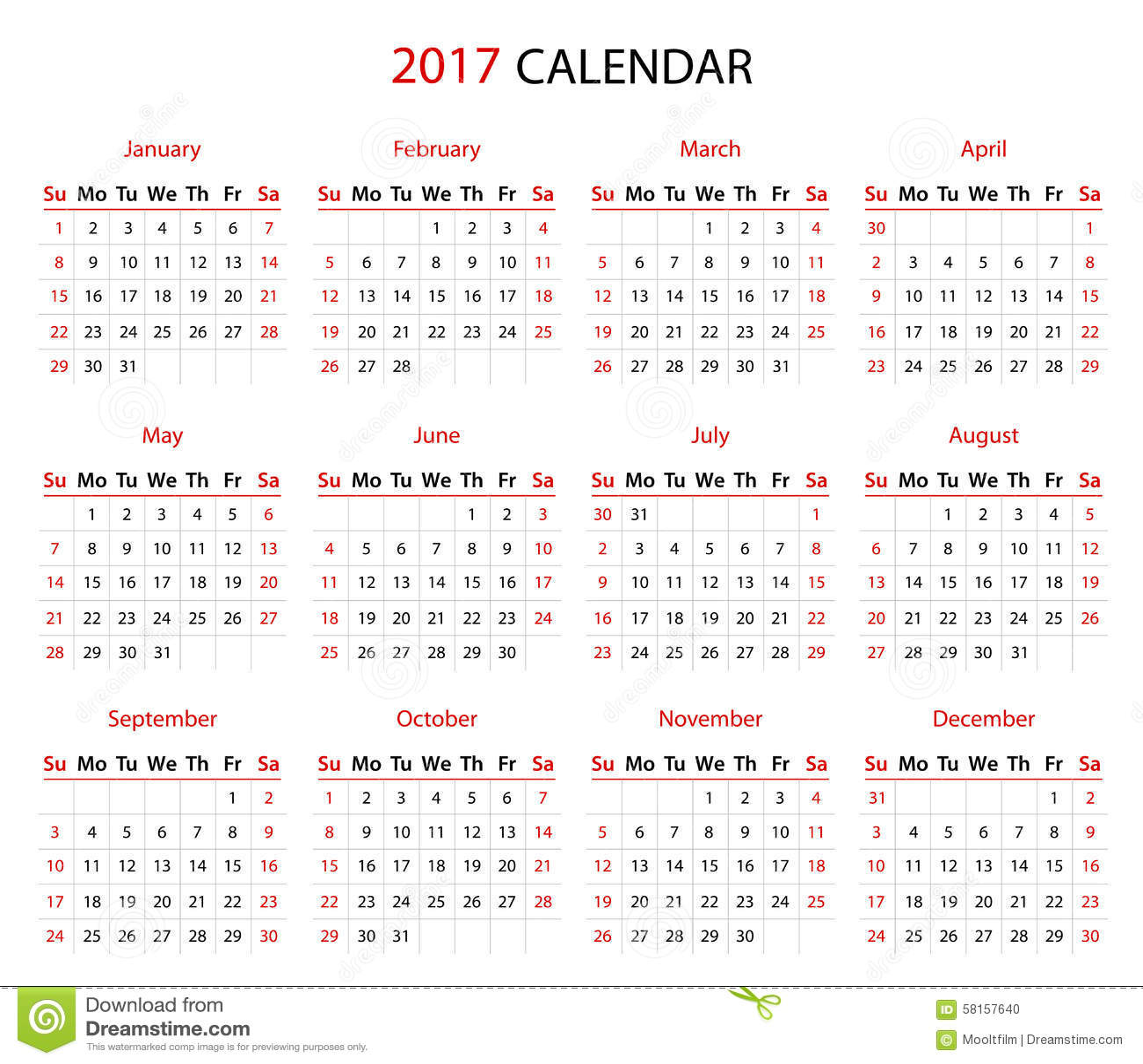2017日历图片