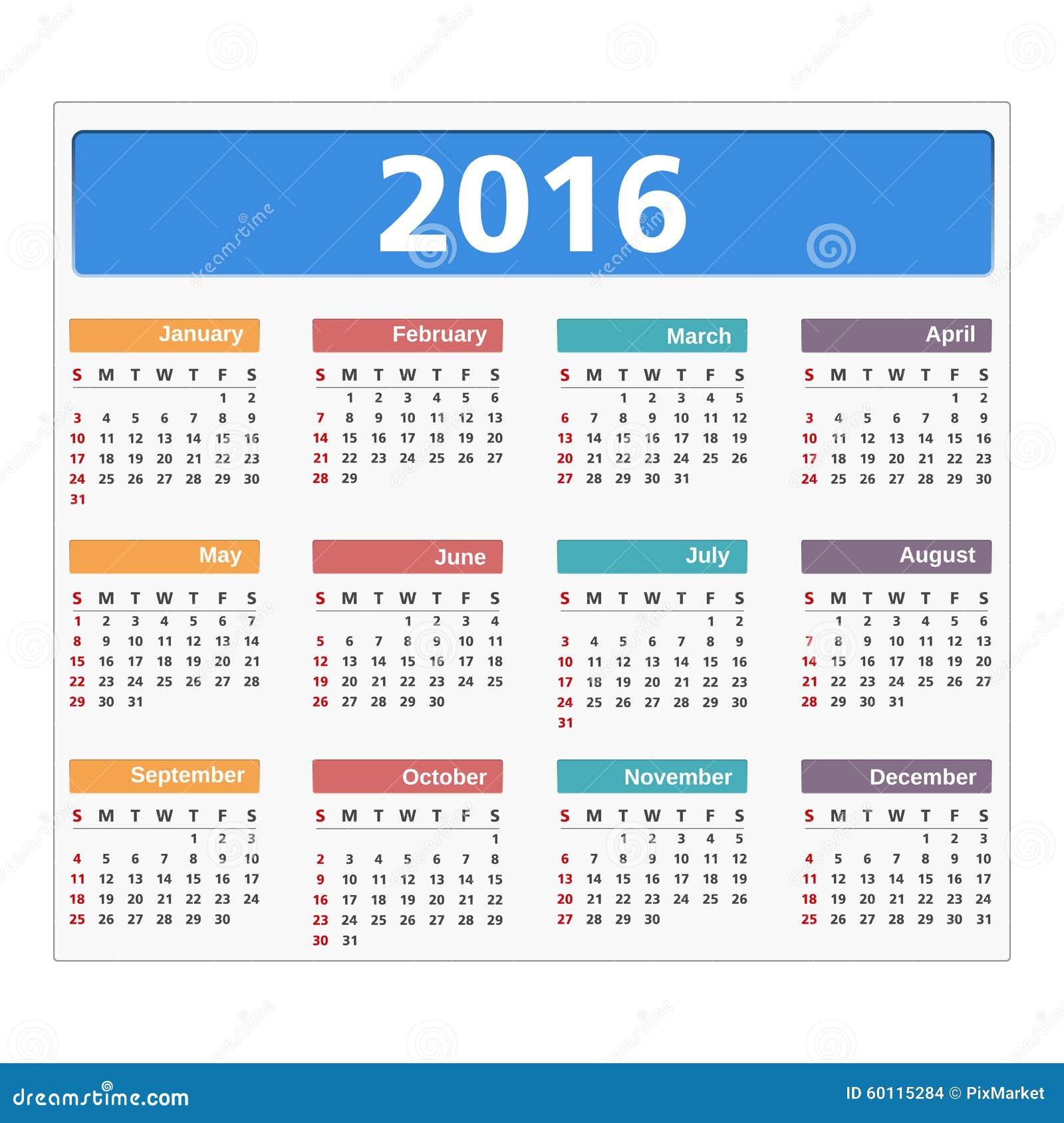 2016在白色背景的日历图片