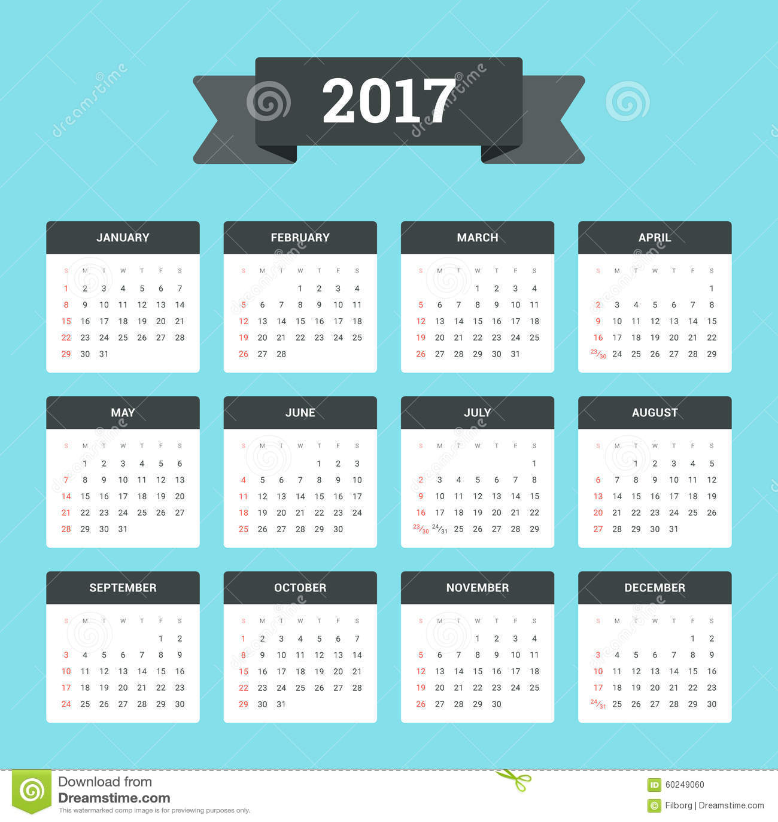日历2017年 向量例证 图片