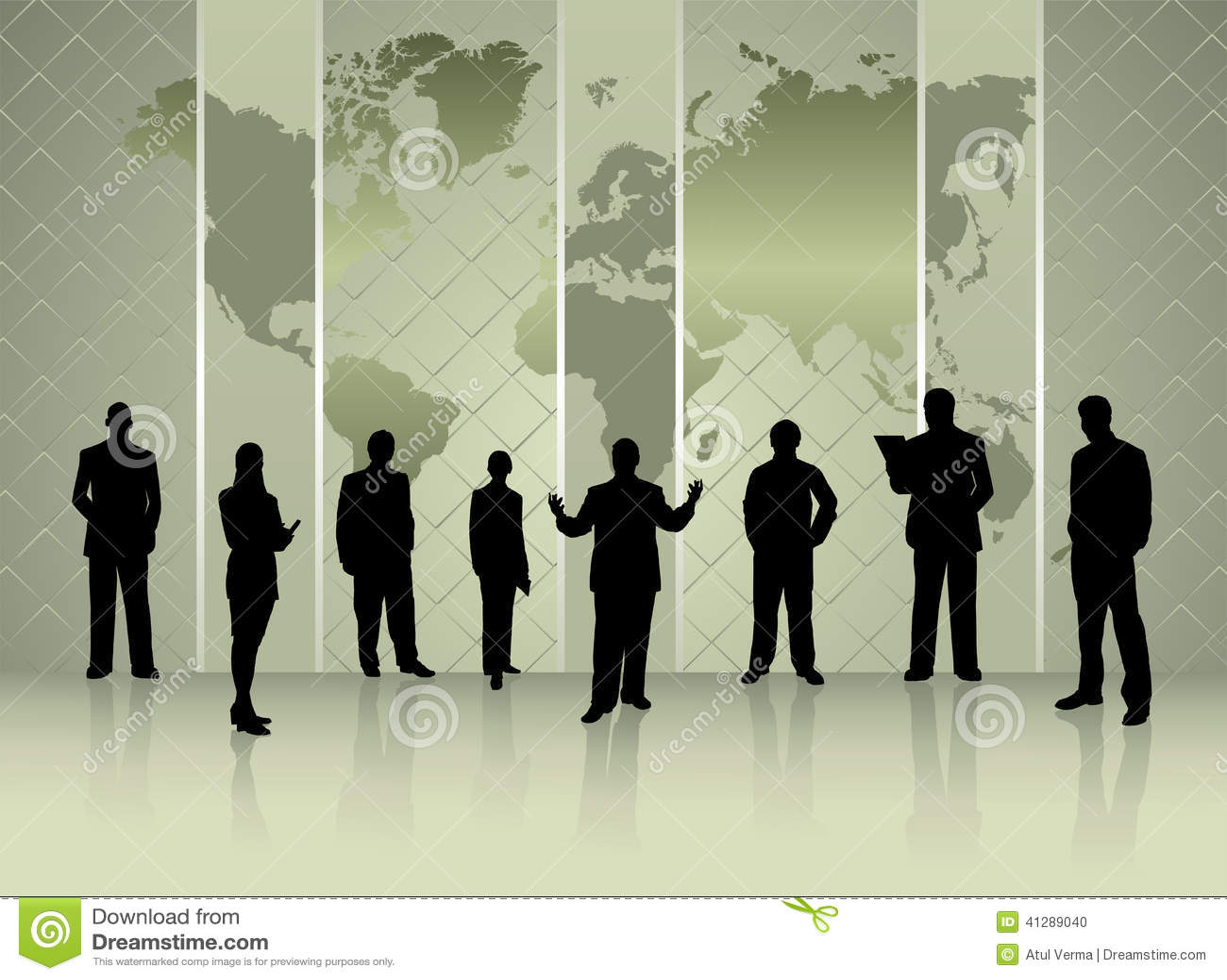 商人剪影有世界地图会议概念的