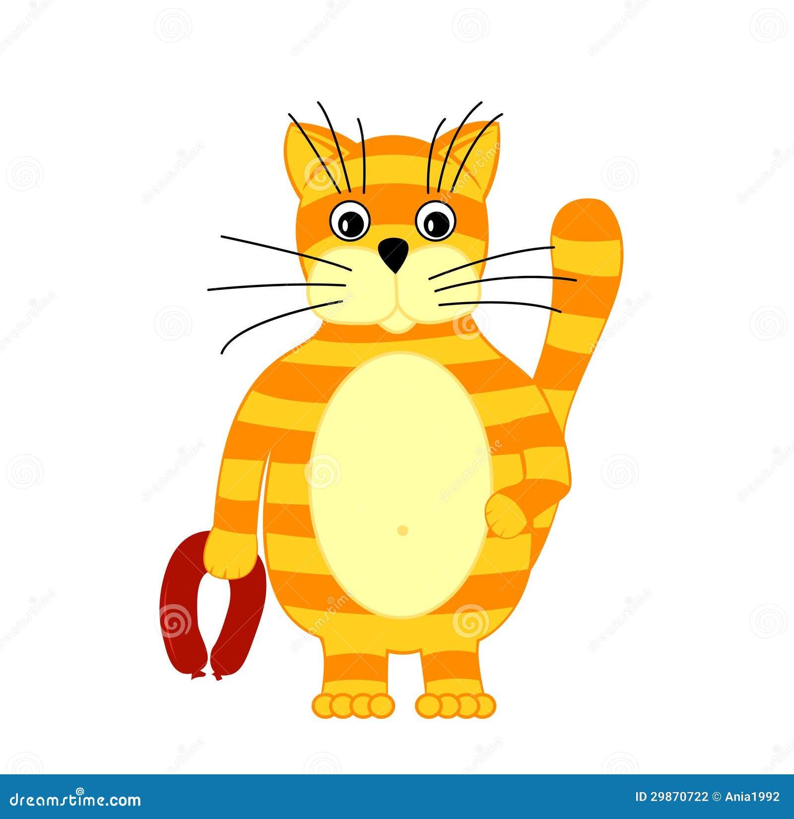 生动描述在动画片猫用在他的爪子的香肠图片