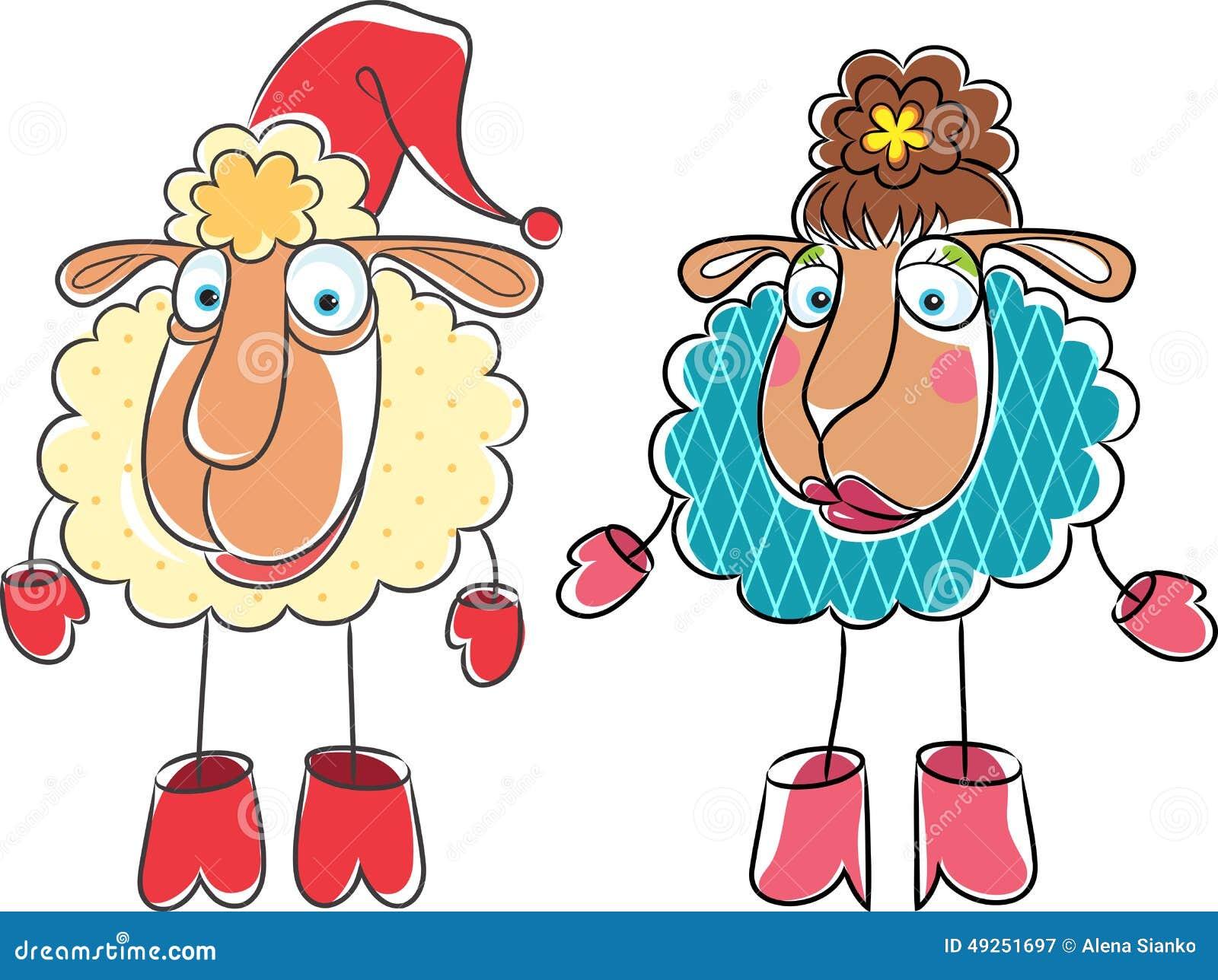 圣诞节动画片图画公羊和绵羊