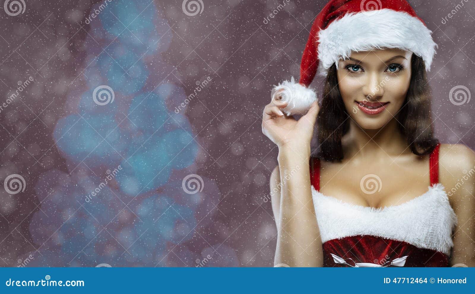 圣诞老人女孩画象
