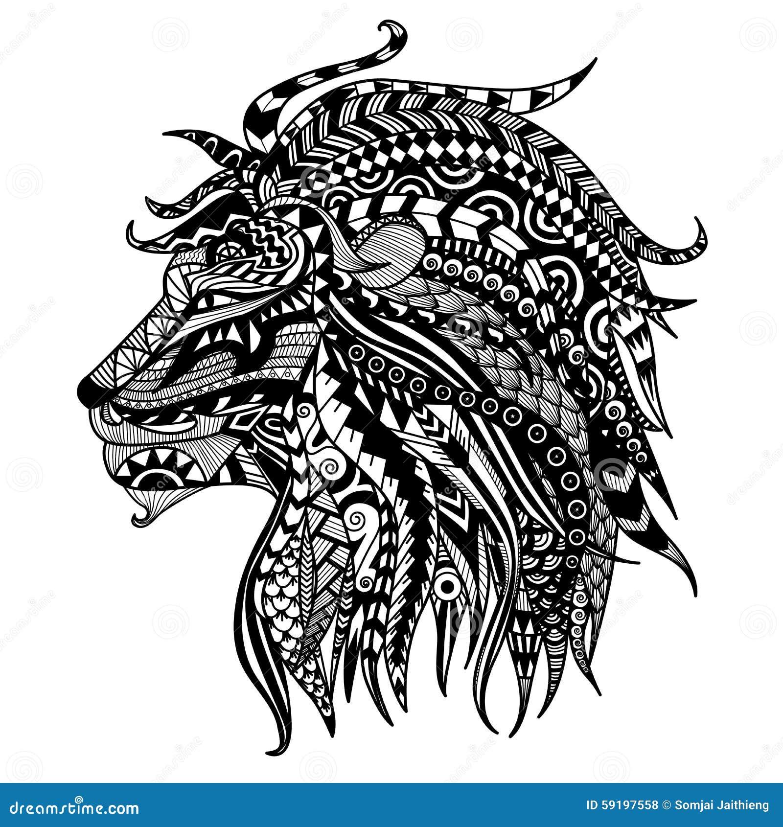 霸气狮子手绘图片