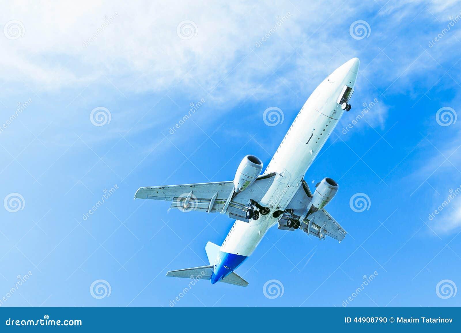 在蓝天的使飞机降落 有起落架的下降的喷气机
