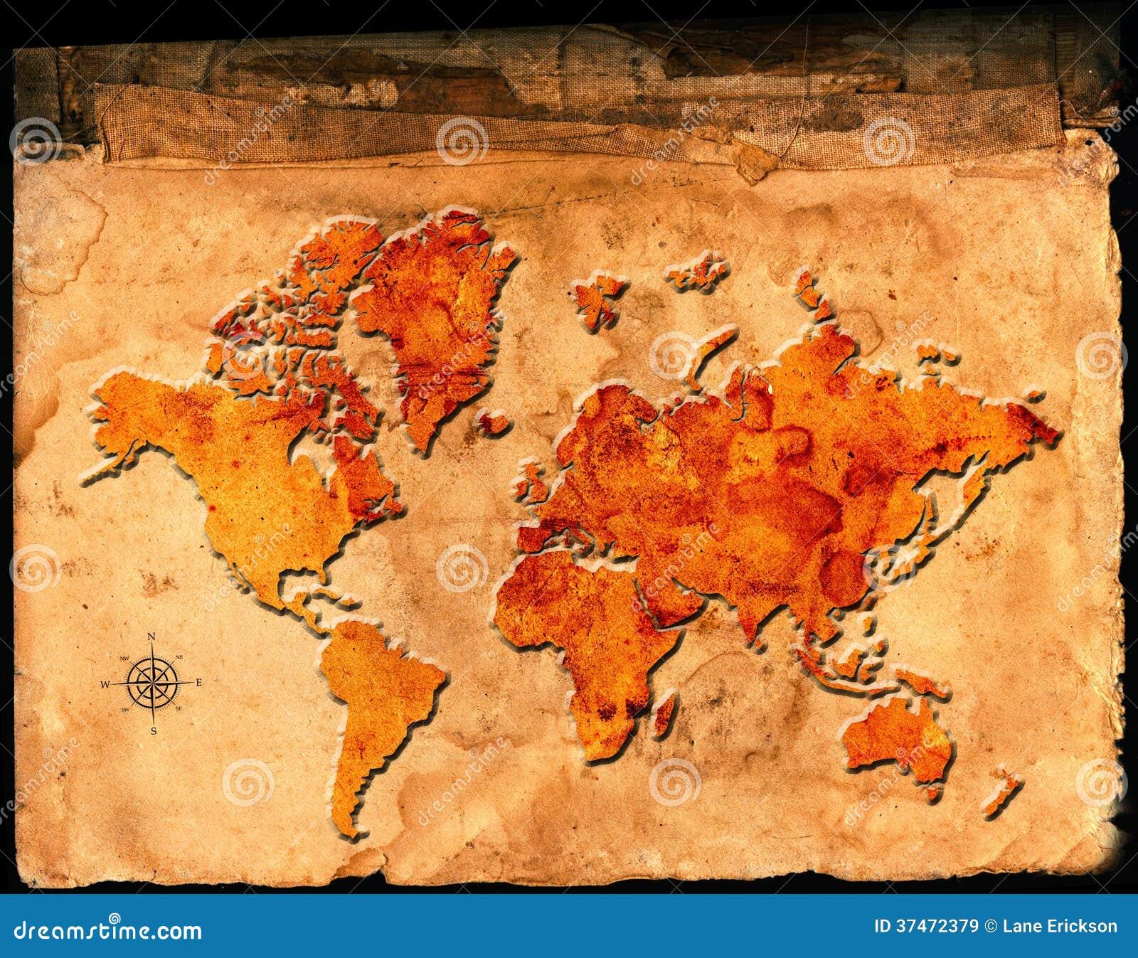 世界的古色古香的地图在羊皮纸的与安心或被上升的