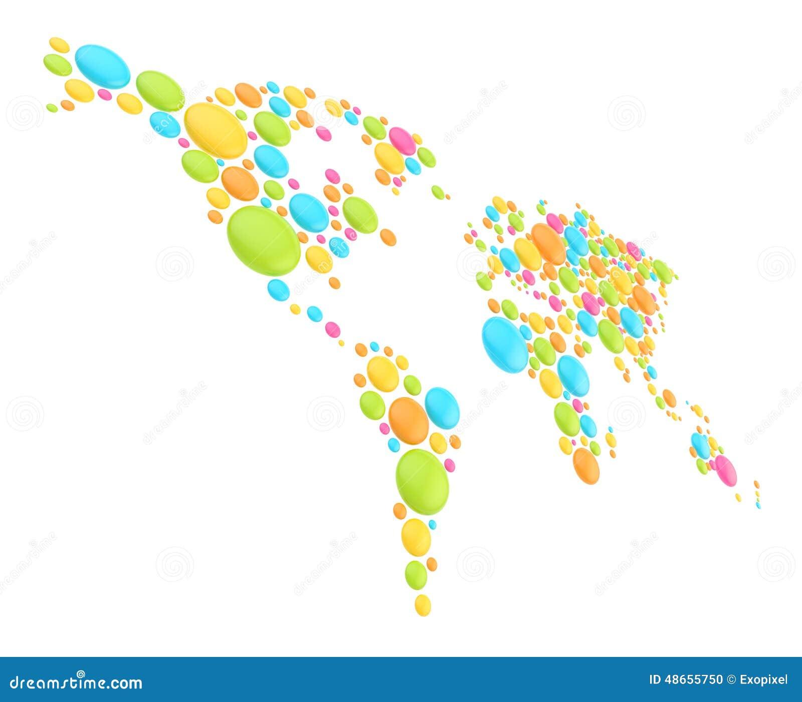 世界地图由圆形做成