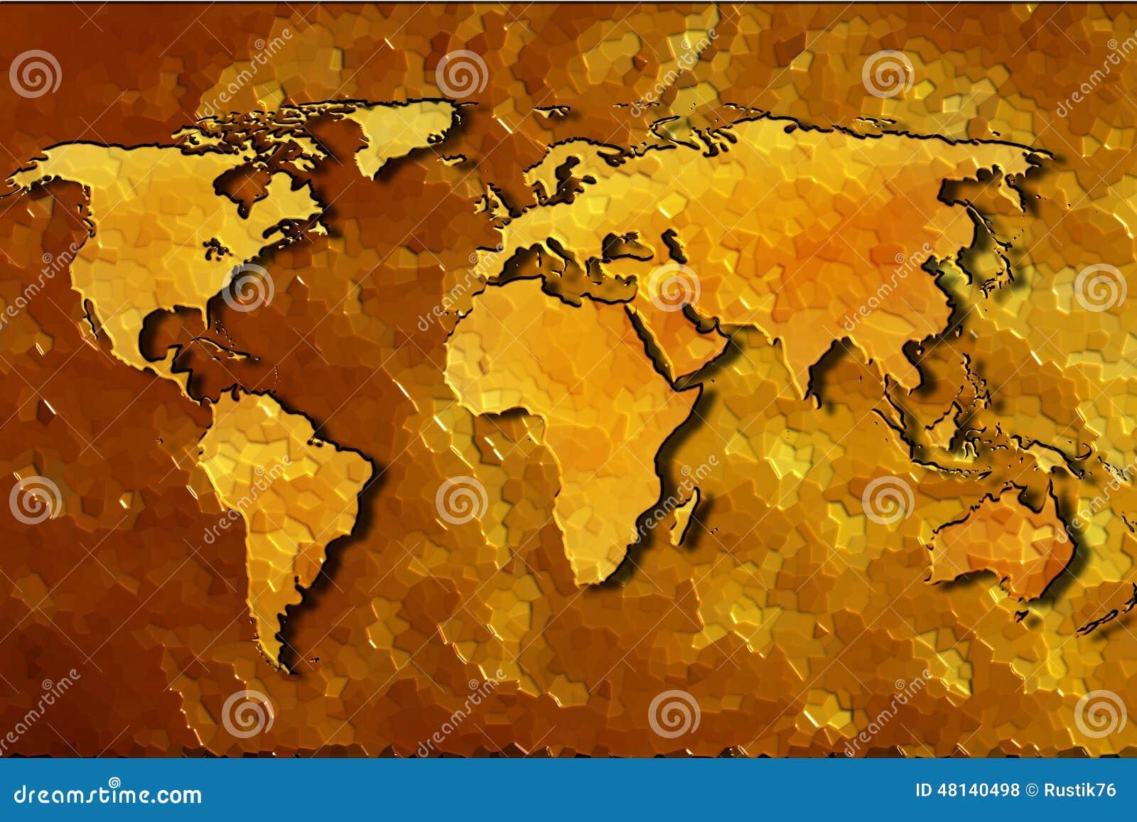 世界的地图的图象在抽象金背景的