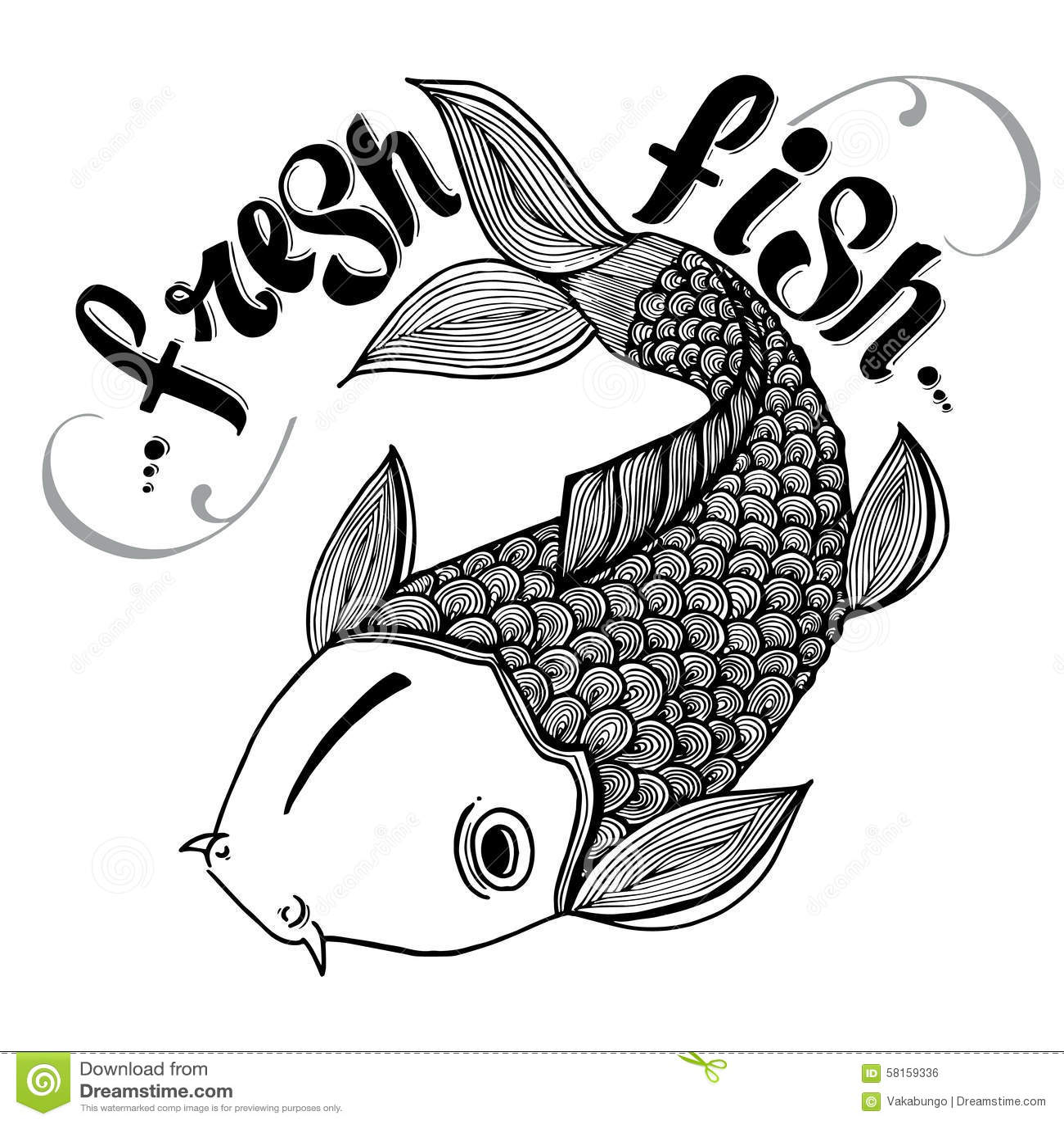 书法标志刻记了例证纹身花刺新鲜的鲤鱼三文鱼日本鱼传染媒介.