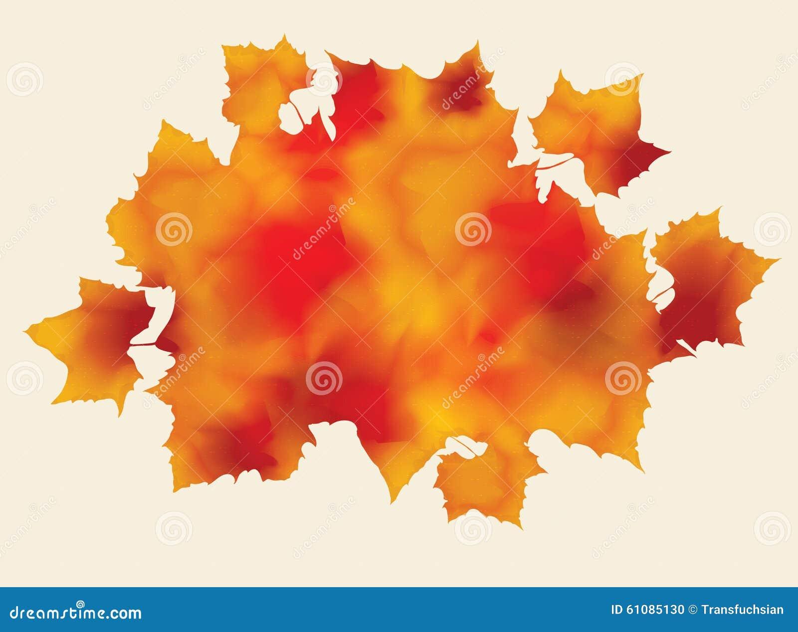 抽象充满活力的水彩秋天叶子.图片