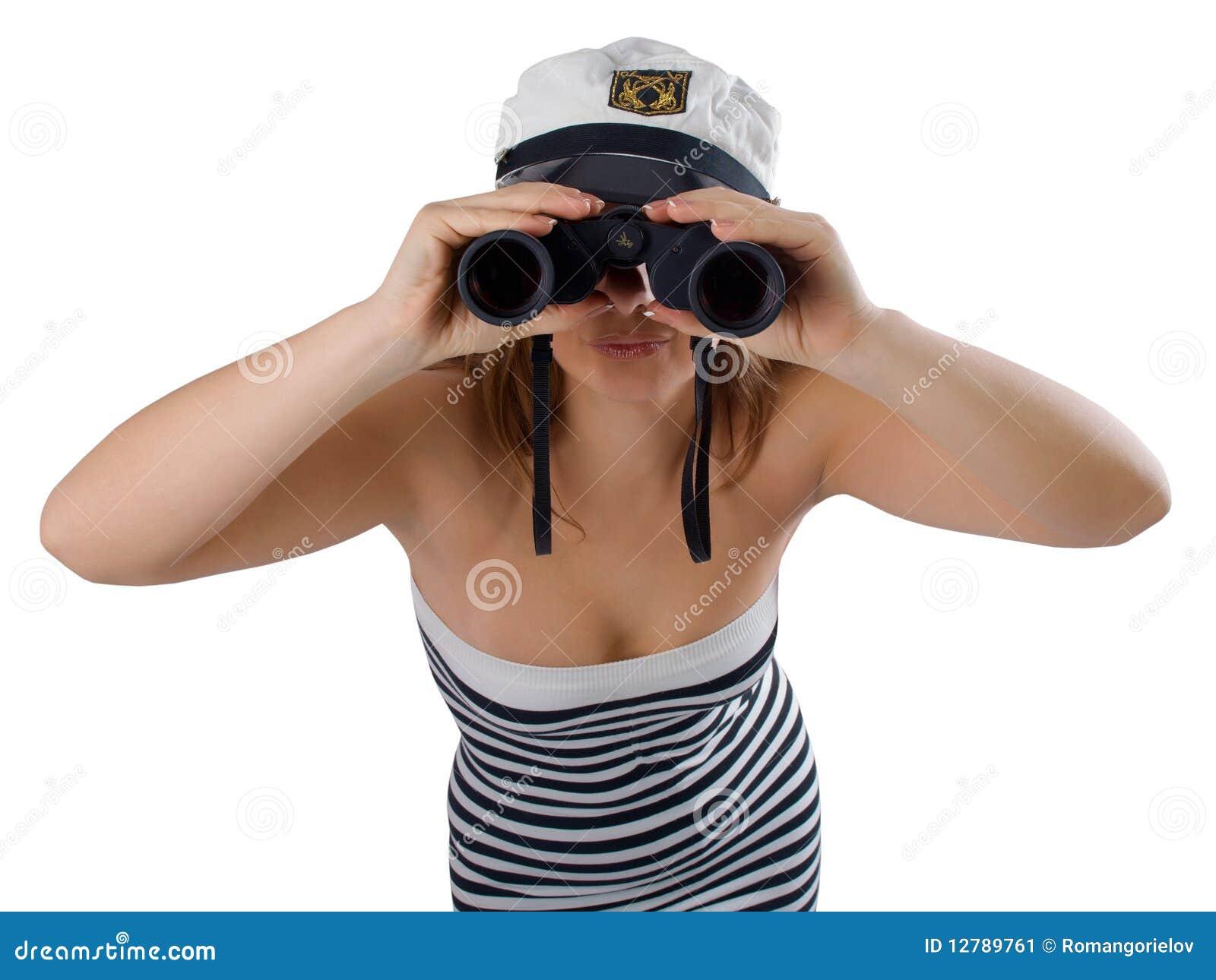 双筒望远镜女孩 库存图片
