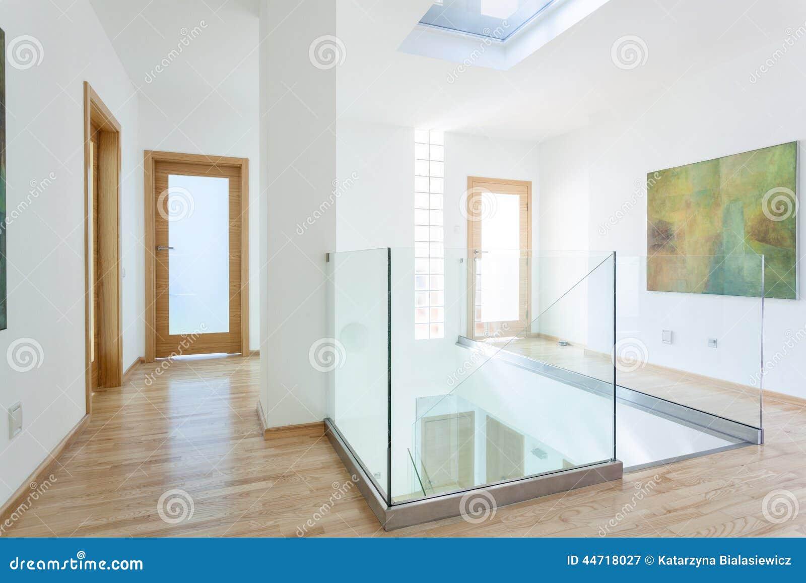 台阶,玻璃细长立柱和门在现代走廊顶楼的.图片