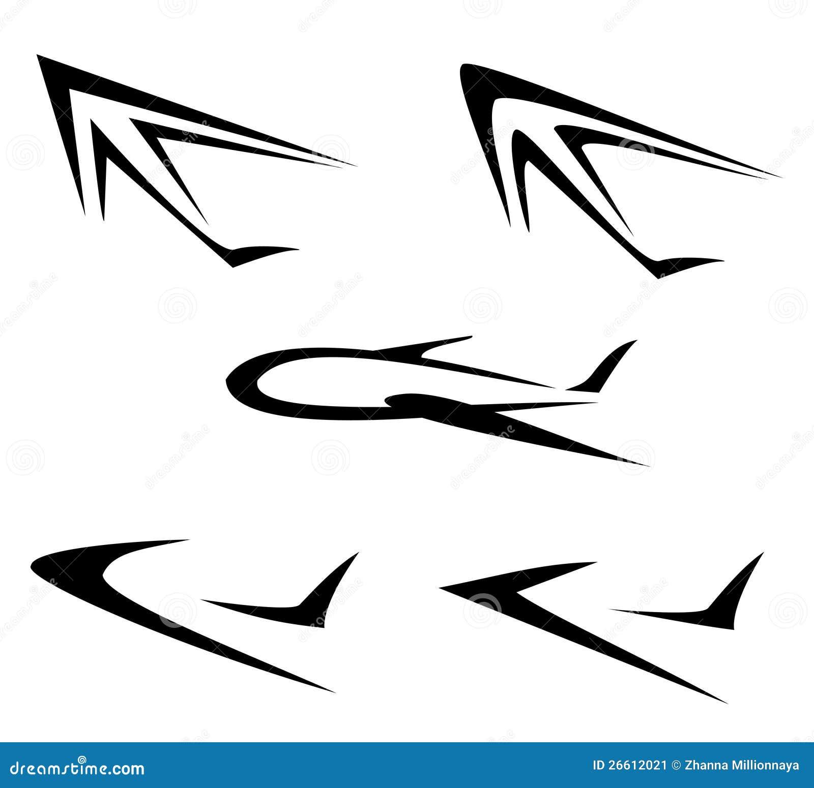 套飞行飞机符号 库存图片