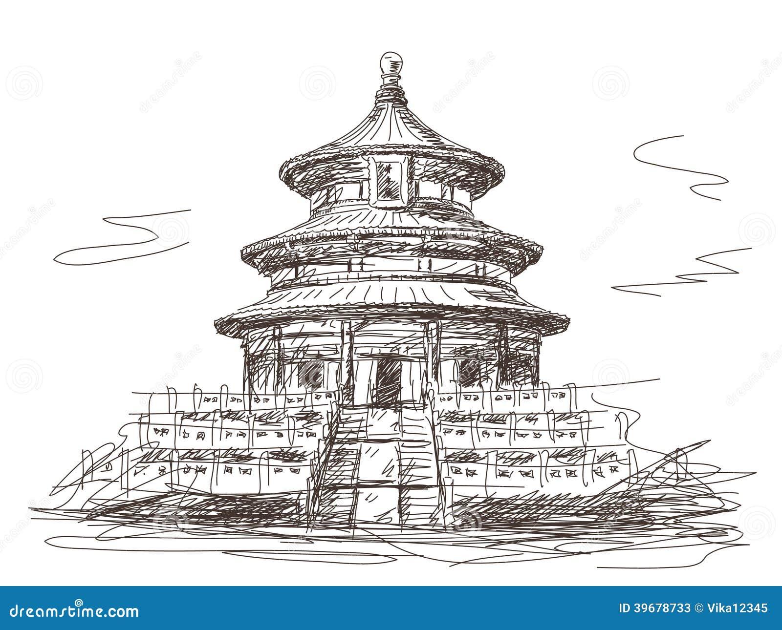 天坛在北京 向量例证