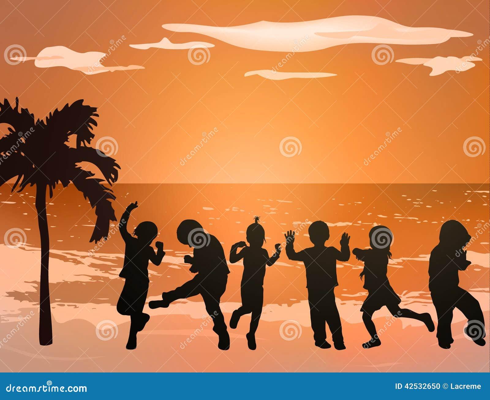 跳舞儿童剪影 向量例证
