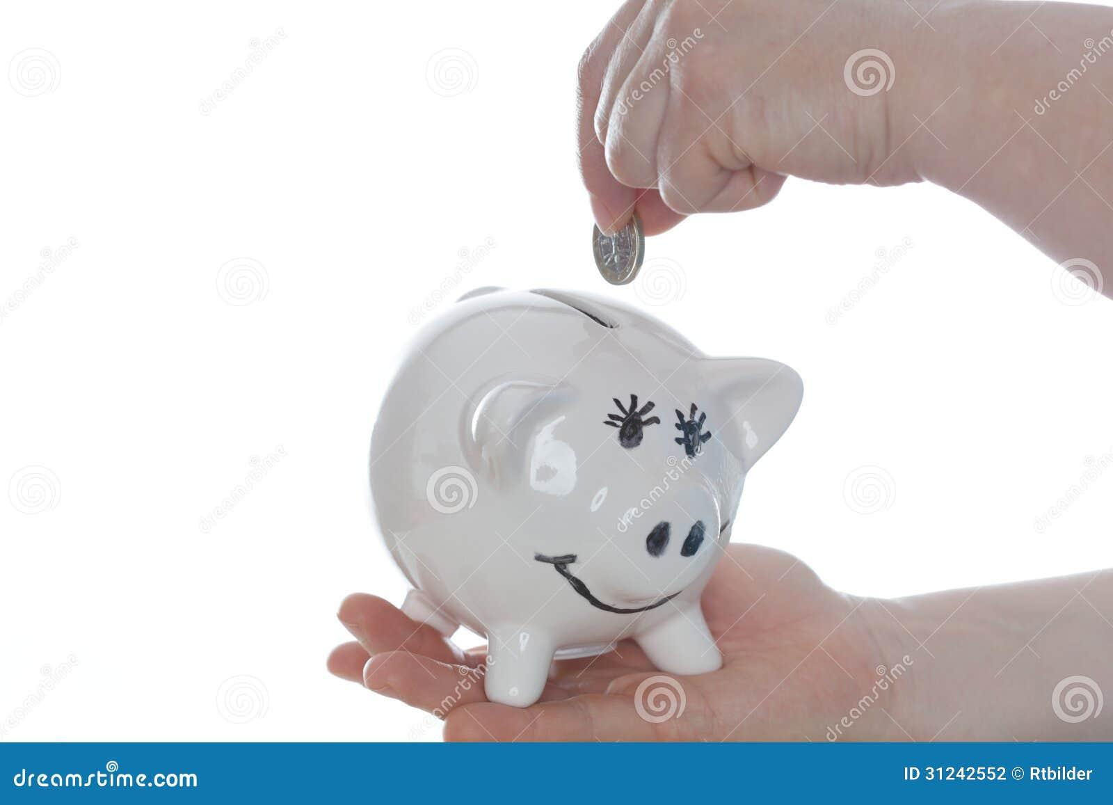 白色背景的小白色存钱罐
