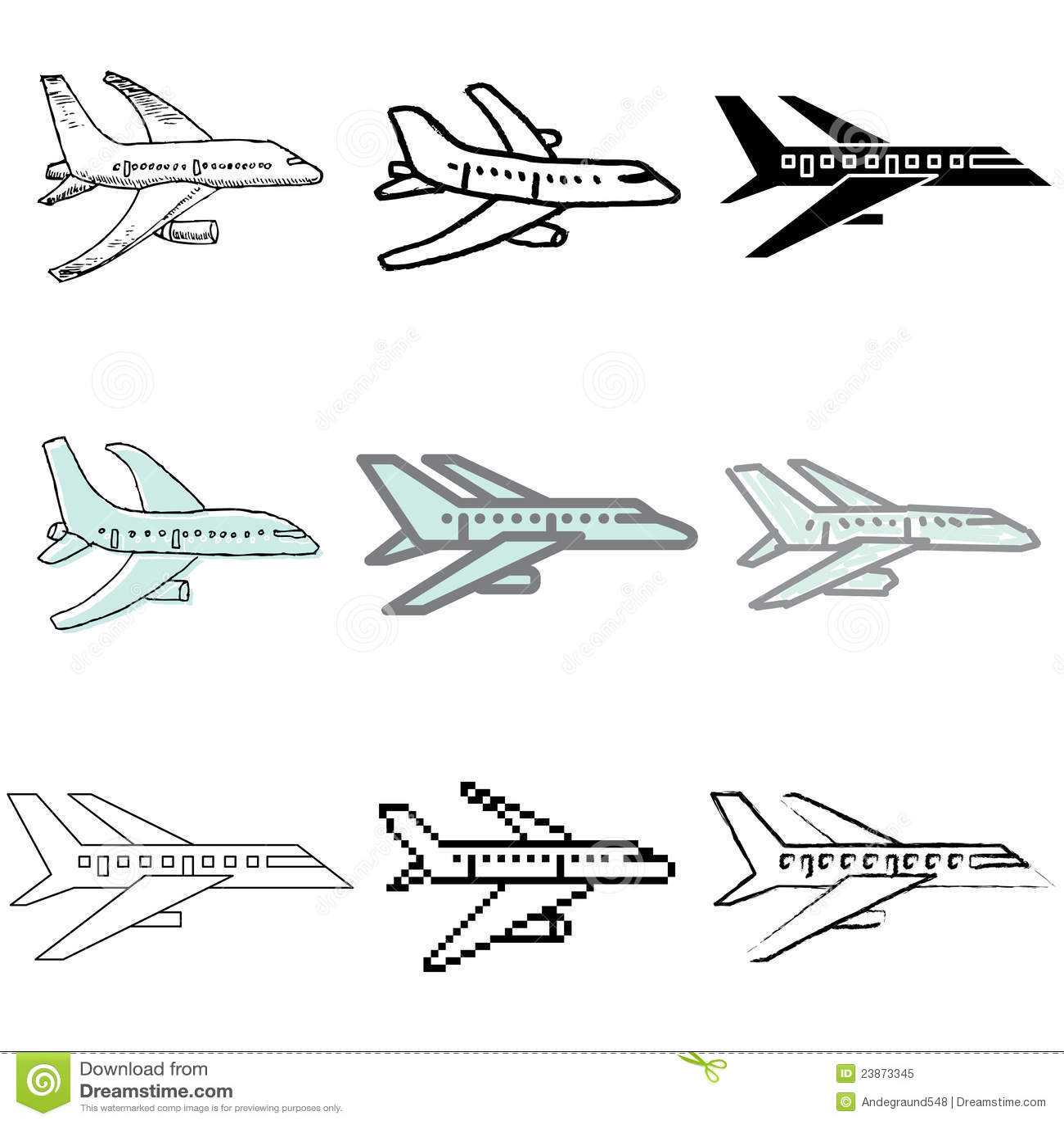 图标飞机集 免版税库存照片