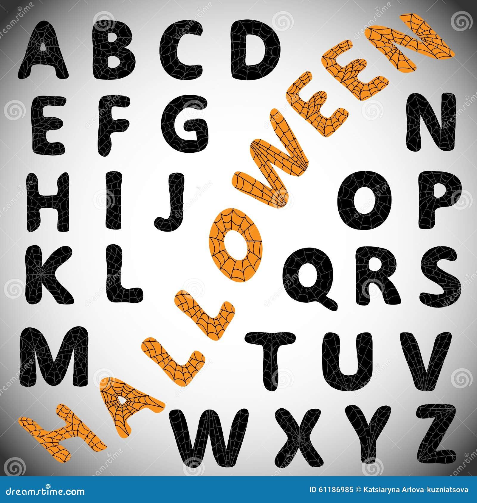万圣夜字母表 与蜘蛛网的哥特式黑体字在他们上 能为贴纸,标签使用.图片