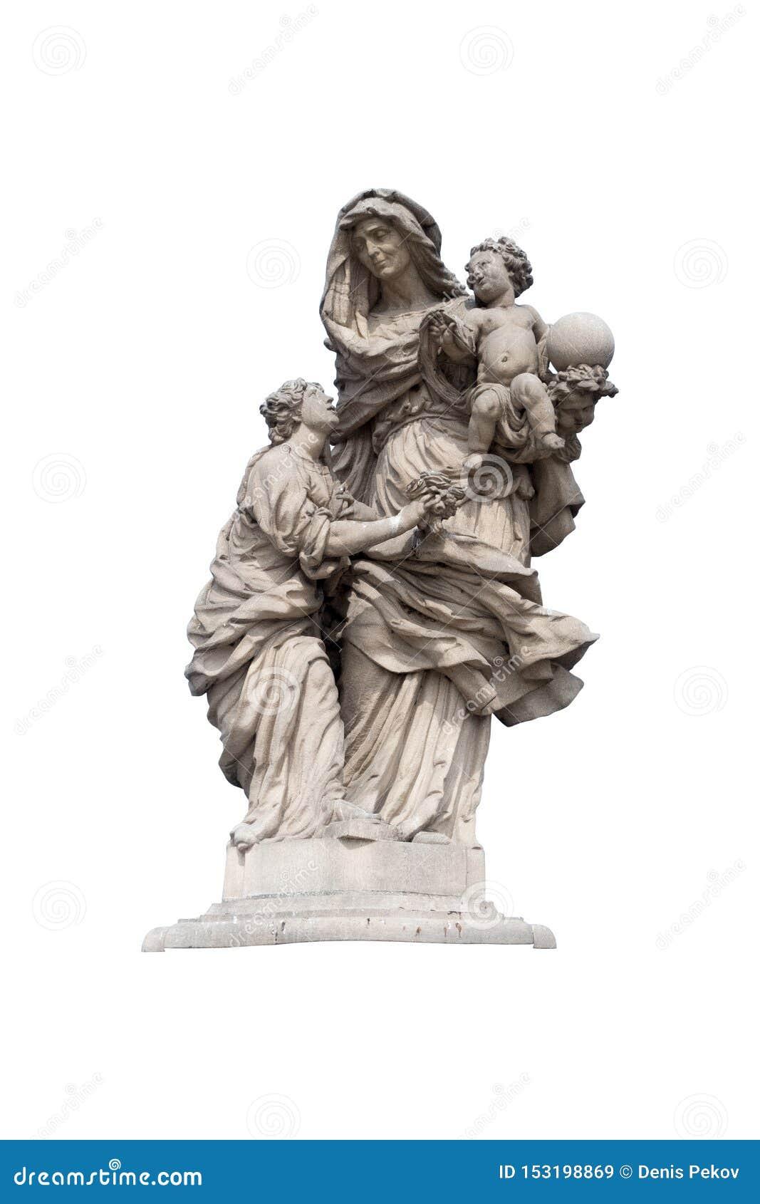 Άγαλμα μιας θρησκευτικής νέας επίκλησης γυναικών που απομονώνεται σε ένα άσπρο υπόβαθρο με το ψαλίδισμα της πορείας
