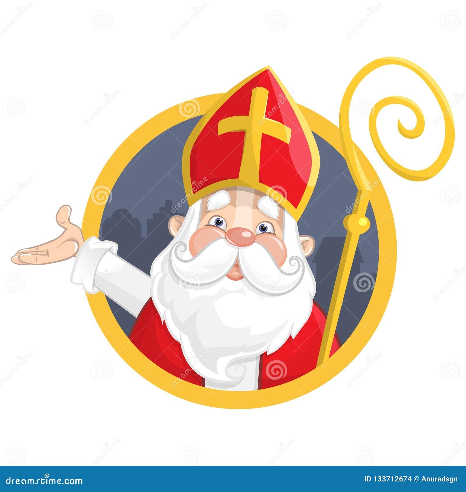 Άγιος Βασίλης ή Sinterklaas Πορτρέτο στο έμβλημα κύκλων - διανυσματική απεικόνιση που απομονώνεται στο άσπρο υπόβαθρο