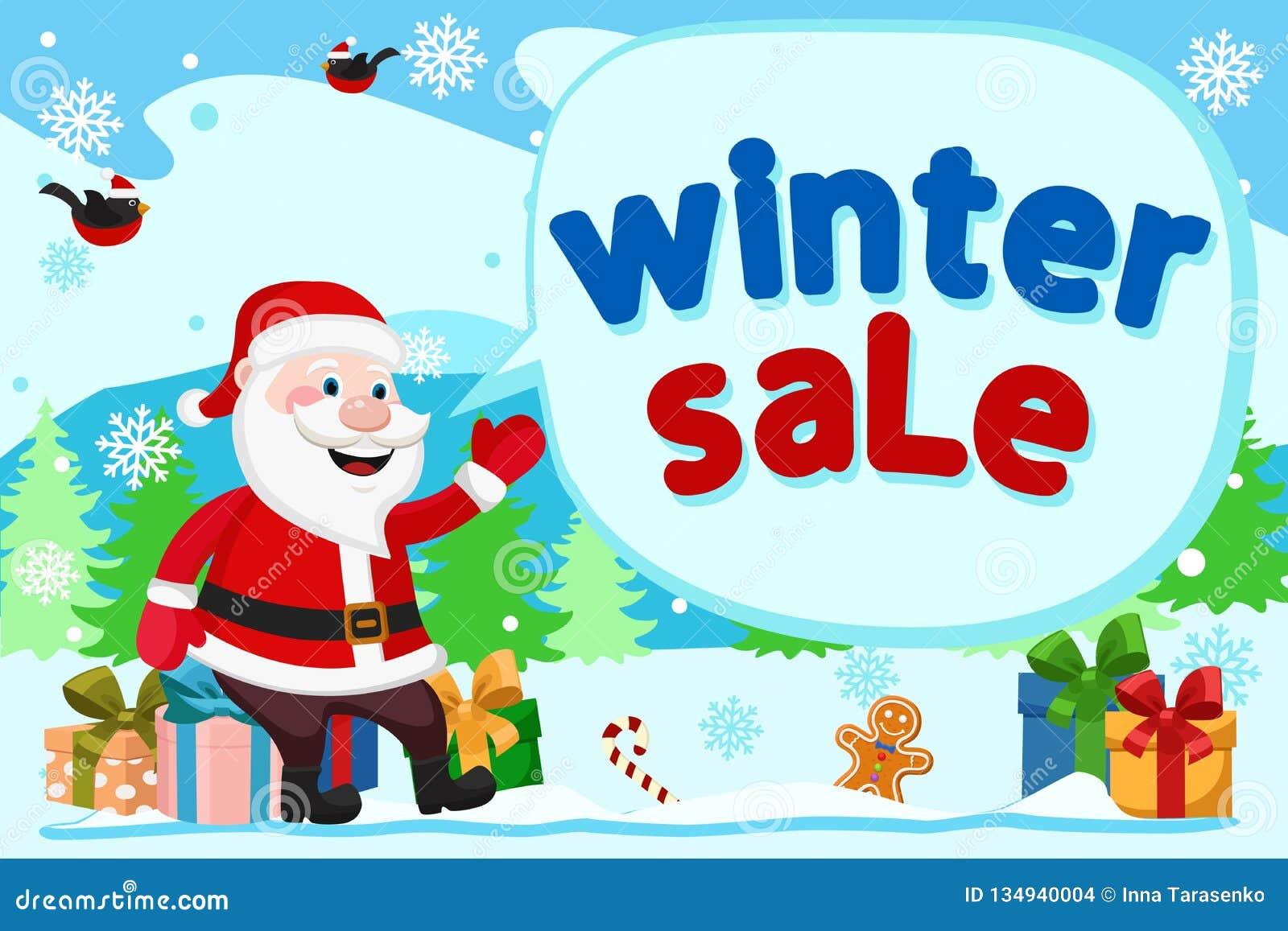 Άγιος Βασίλης κάθεται στα κιβώτια δώρων και παρουσιάζει χέρι του στην επιγραφή Χειμερινές πωλήσεις