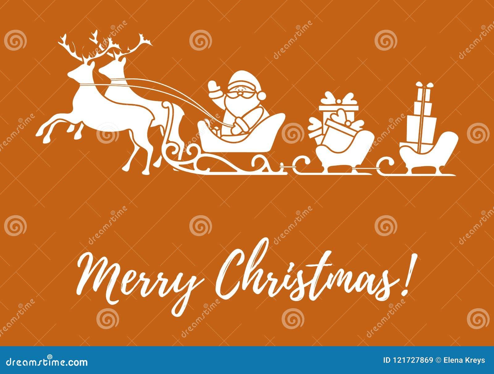 Άγιος Βασίλης με τα χριστουγεννιάτικα δώρα στα έλκηθρα με τους ταράνδους ν