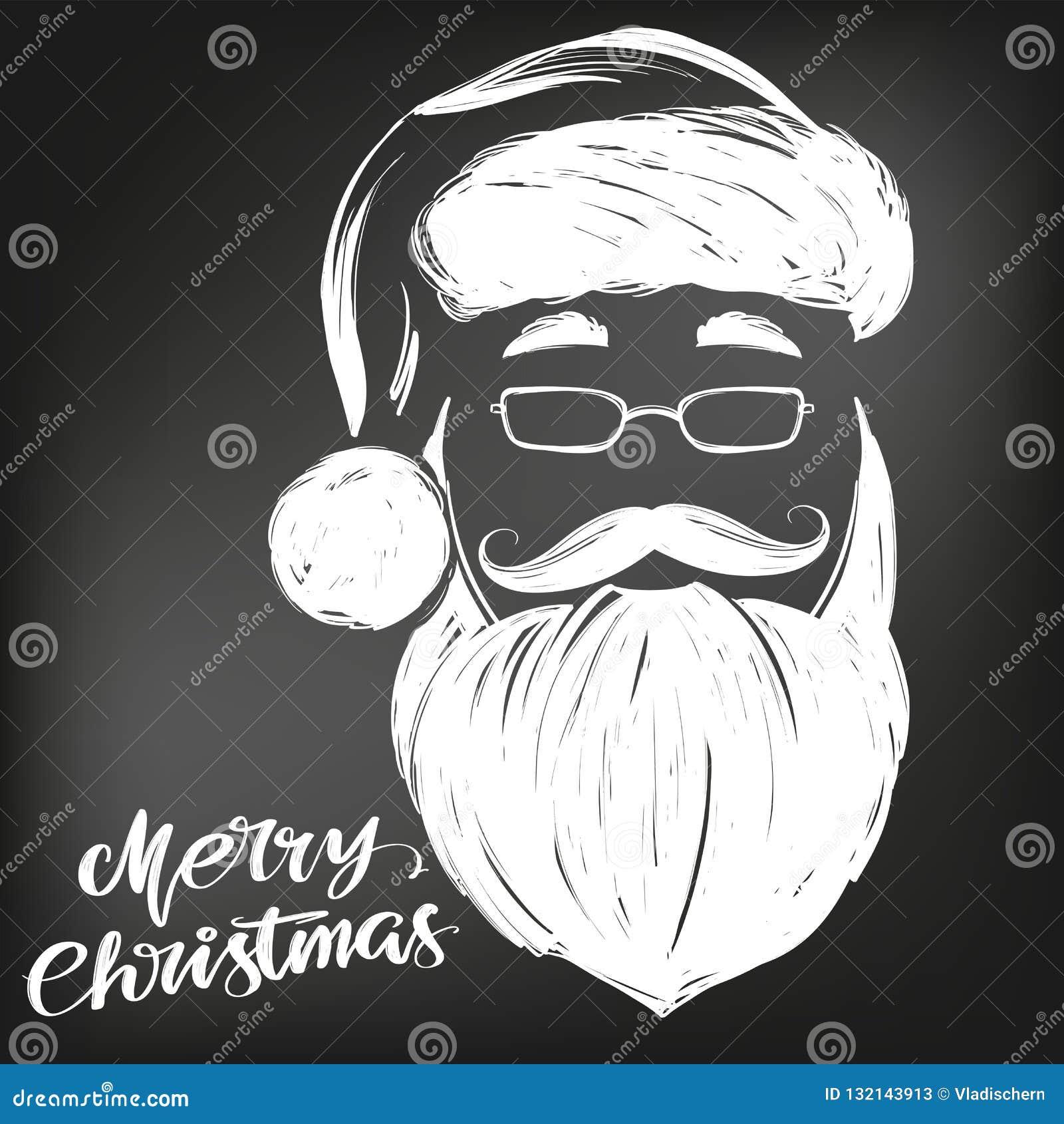 Άγιος Βασίλης, συρμένο διανυσματικό σκίτσο απεικόνισης συμβόλων Χριστουγέννων χέρι, που επισύρεται την προσοχή στην κιμωλία σε έν