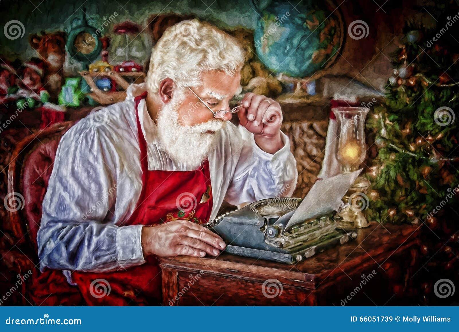 Άγιος Βασίλης με τη γραφομηχανή στο εργαστήριο