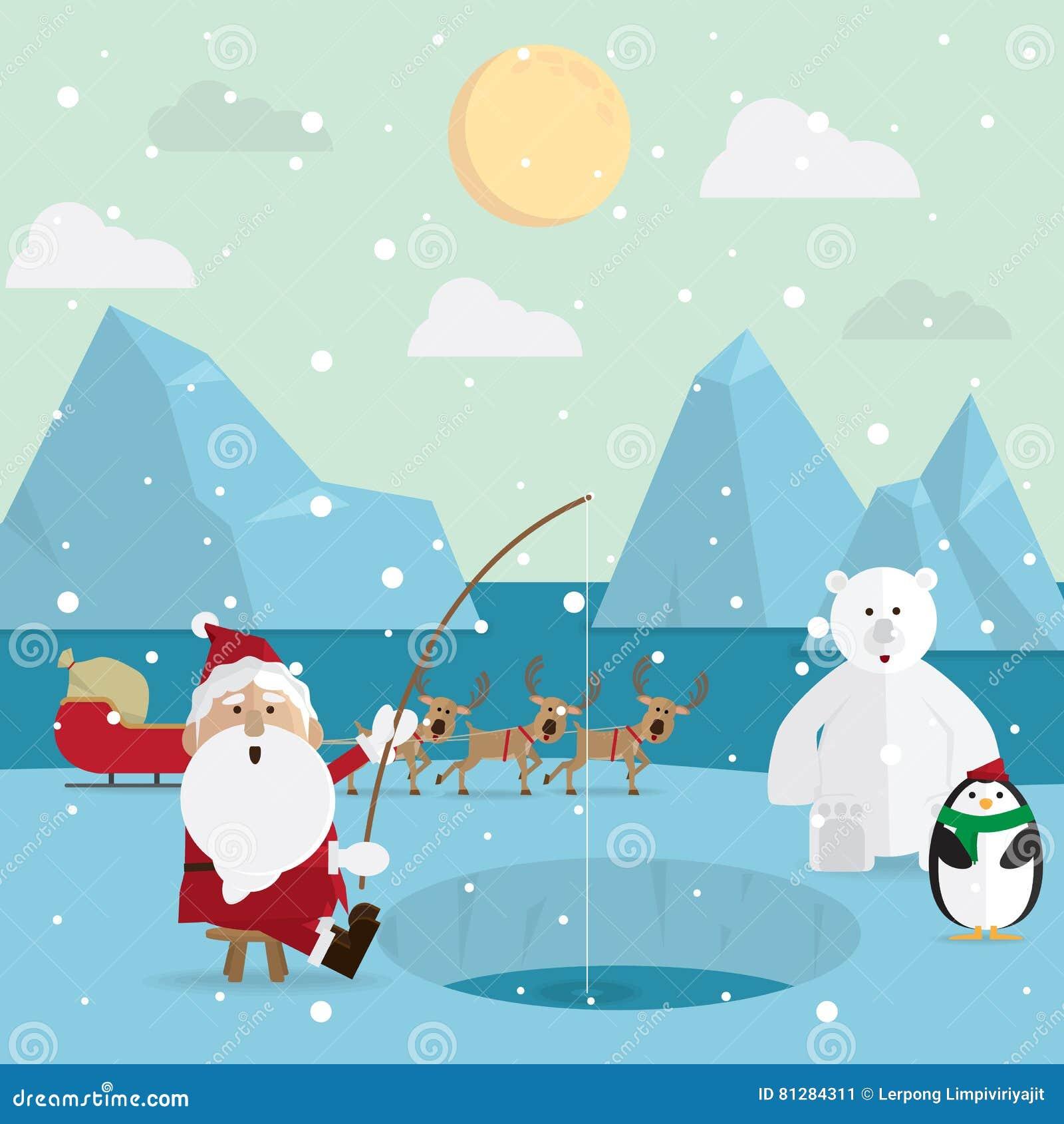 Άγιος Βασίλης που αλιεύει χαλαρώνει υπαίθρια το χειμώνα