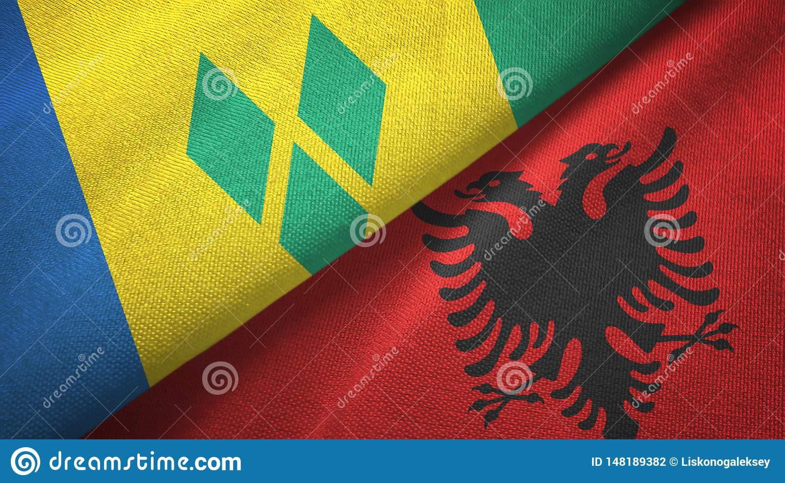 Άγιος Βικέντιος και Γρεναδίνες και Αλβανία δύο σημαίες