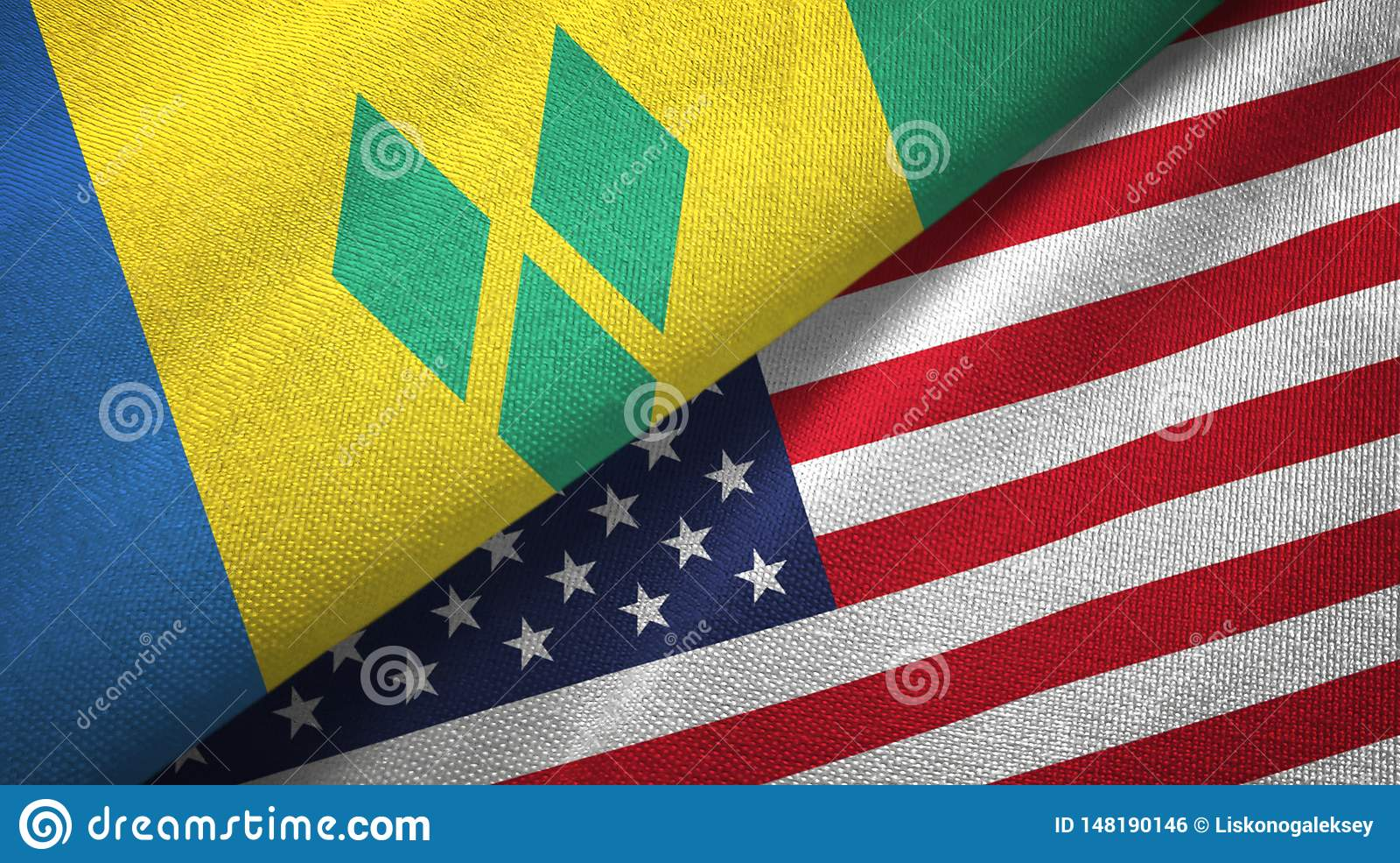 Άγιος Βικέντιος και Γρεναδίνες και Ηνωμένες Πολιτείες δύο σημαίες